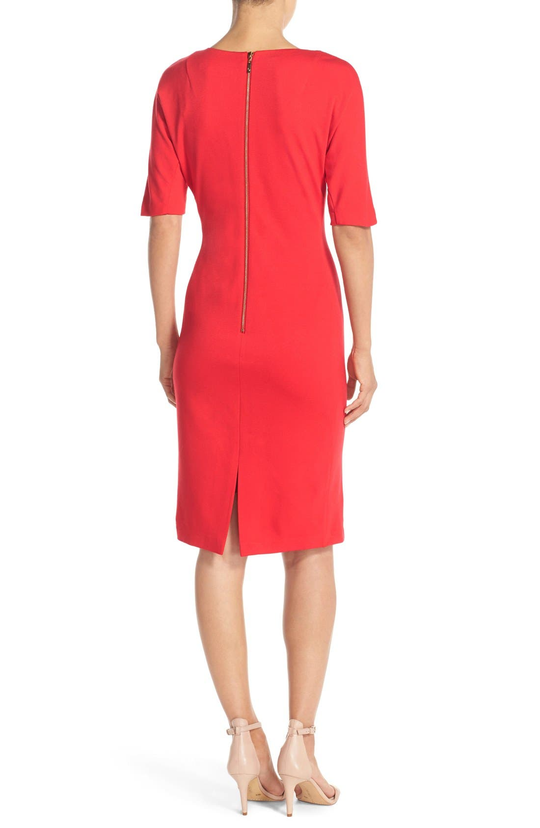 Alternate Image 2  - Eliza J V-Neck Crepe Sheath Dress