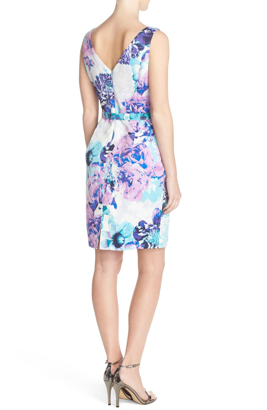 Alternate Image 2  - Eliza J Belted Floral Faille Sheath Dress (Regular & Petite)