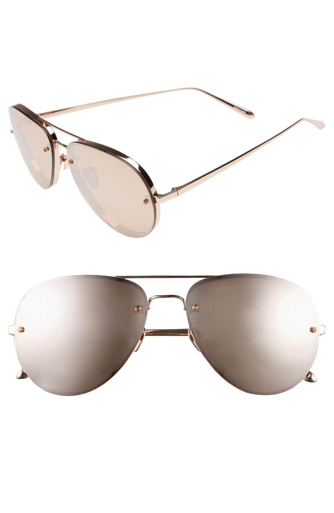 Main Image - Linda Farrow 59mm Aviator 18 Karat Rose Gold Trim Sunglasses