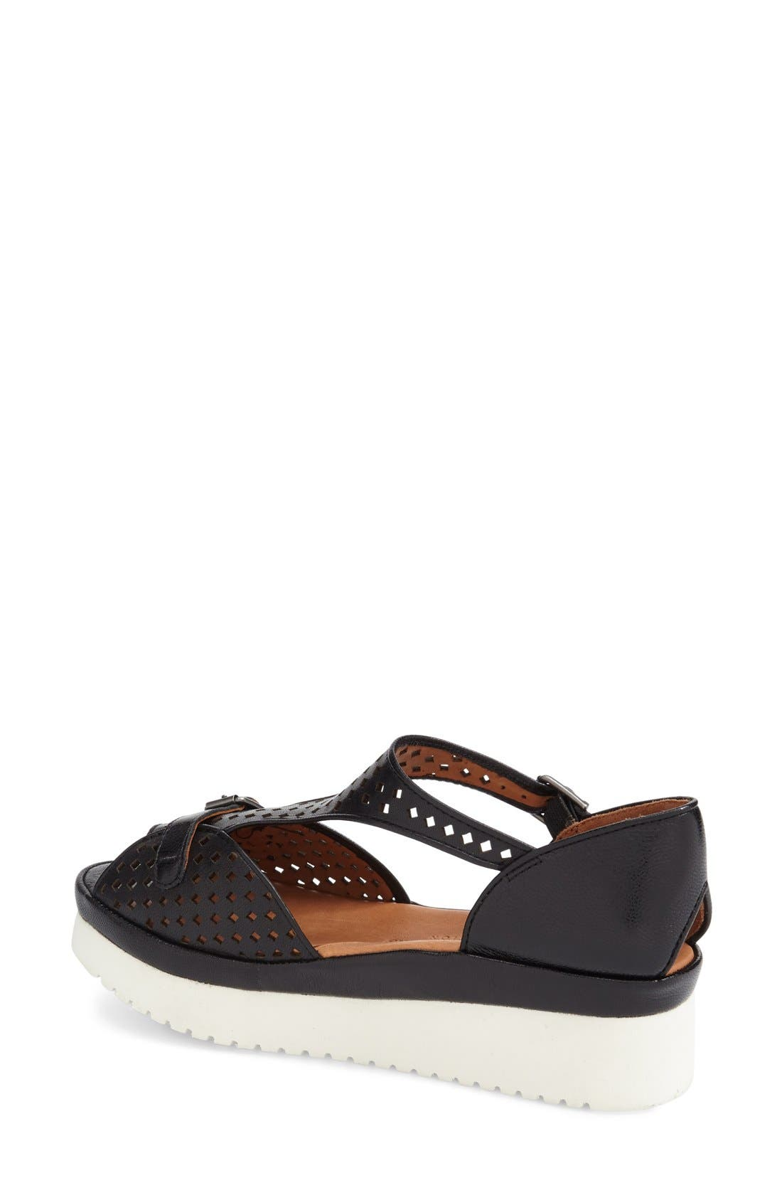 'Audric' Platform T-Strap Sandal,                             Alternate thumbnail 2, color,                             Black/ White Leather