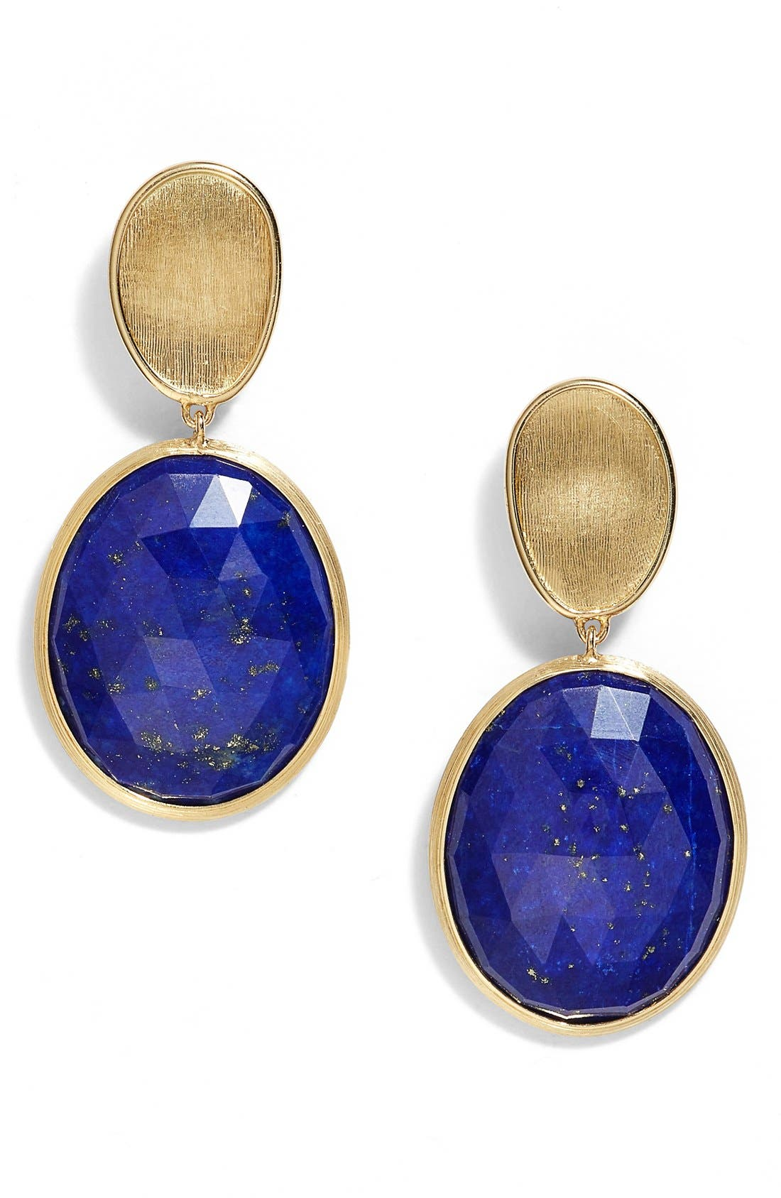 Lunaria Semiprecious Stone Drop Earrings,                             Main thumbnail 1, color,                             Yellow Gold/ Lapis