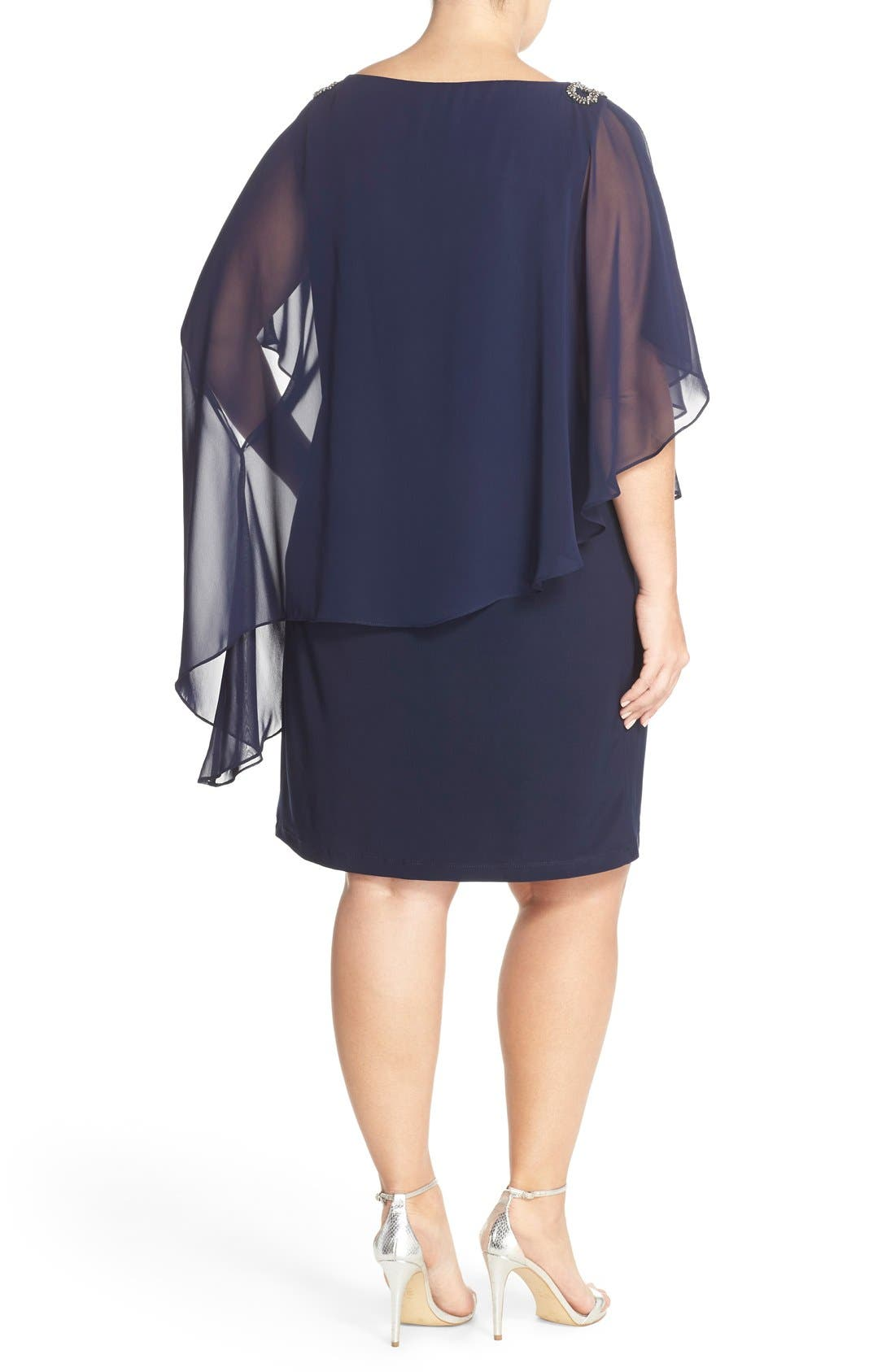 Embellished Chiffon Overlay Jersey Dress,                             Alternate thumbnail 2, color,                             Lovely Navy