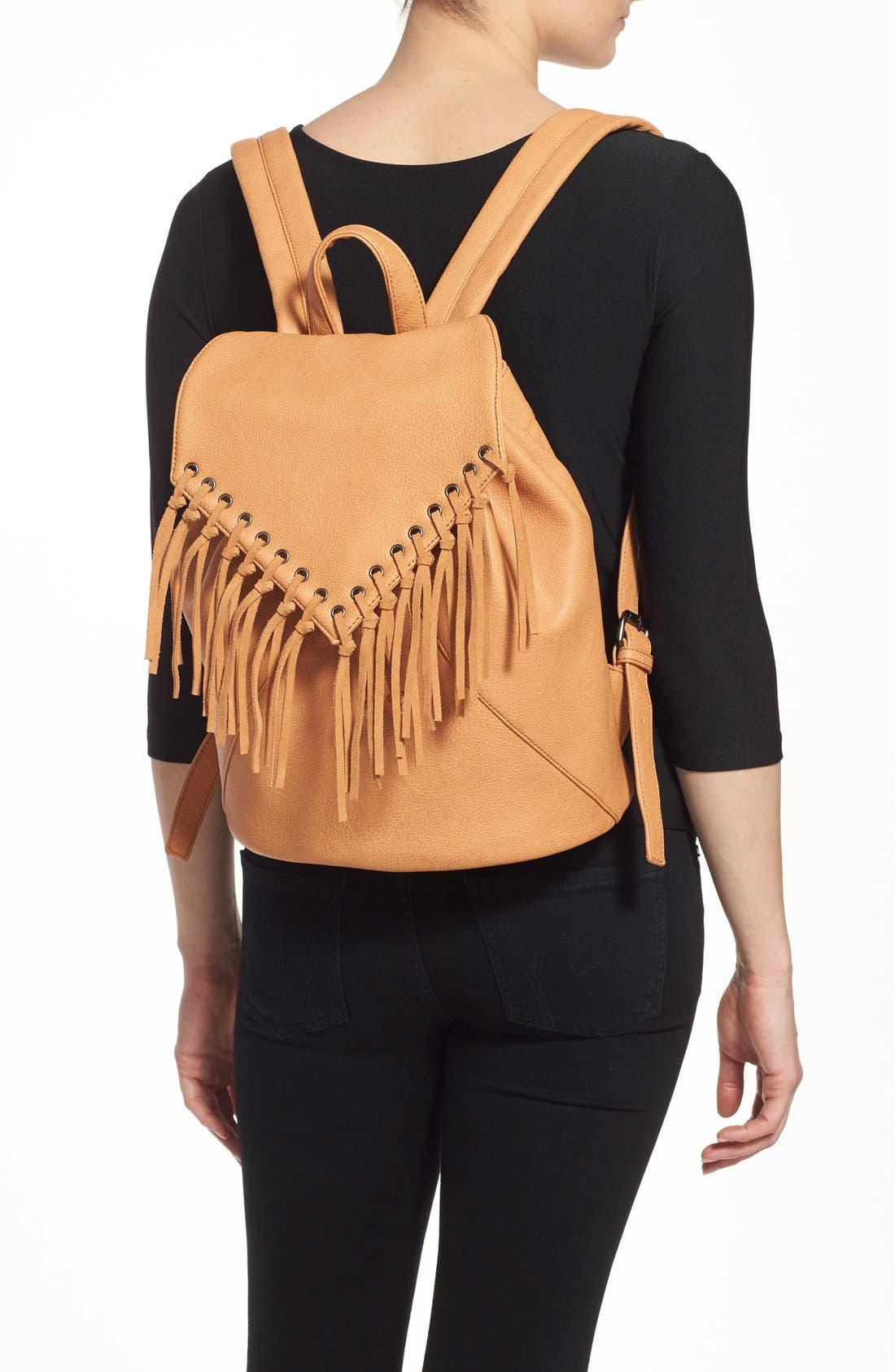 'Hartley' Faux Leather Backpack,                             Alternate thumbnail 2, color,                             Camel
