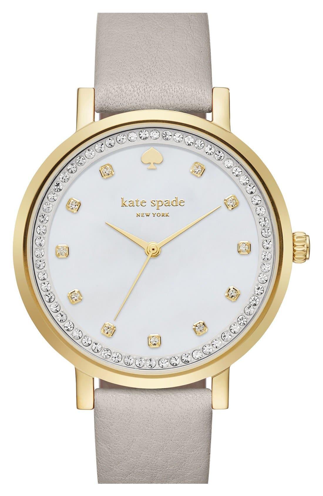 kate spade new york 'monterrey' leather strap watch, 34mm