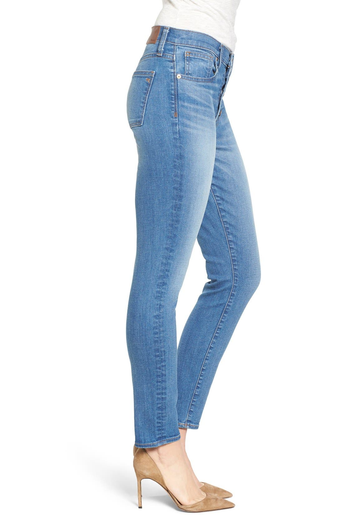 Alternate Image 4  - Madewell 'High Riser - Button Through' Crop Skinny Skinny Jeans (Kearney Wash)