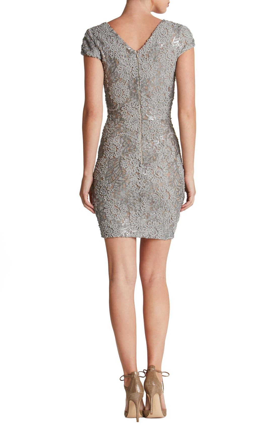 Alternate Image 2  - Dress the Population 'Zoe' Embellished Mesh Body-Con Dress