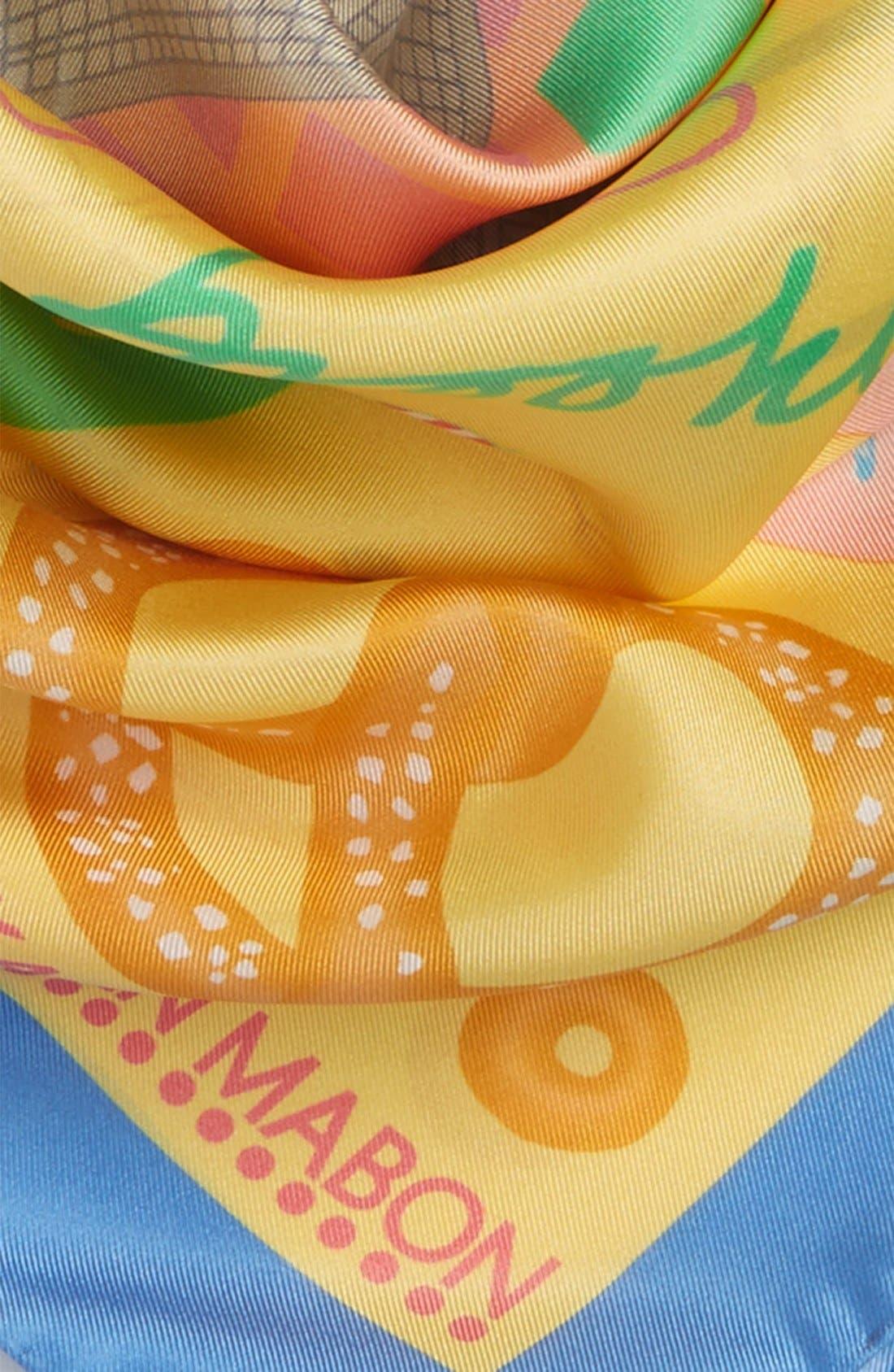 'New York, New York' Silk Square Scarf,                             Alternate thumbnail 3, color,                             Yellow
