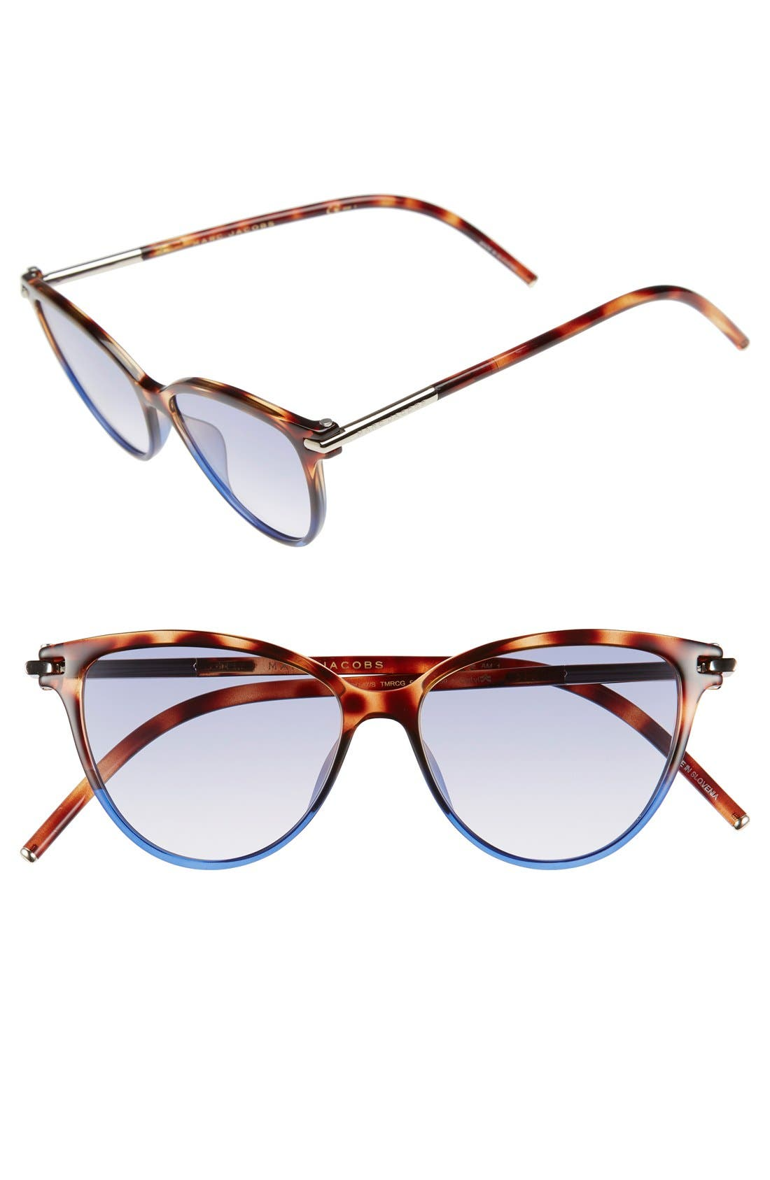 53mm Cat Eye Sunglasses,                             Main thumbnail 1, color,                             Havanabrownblue
