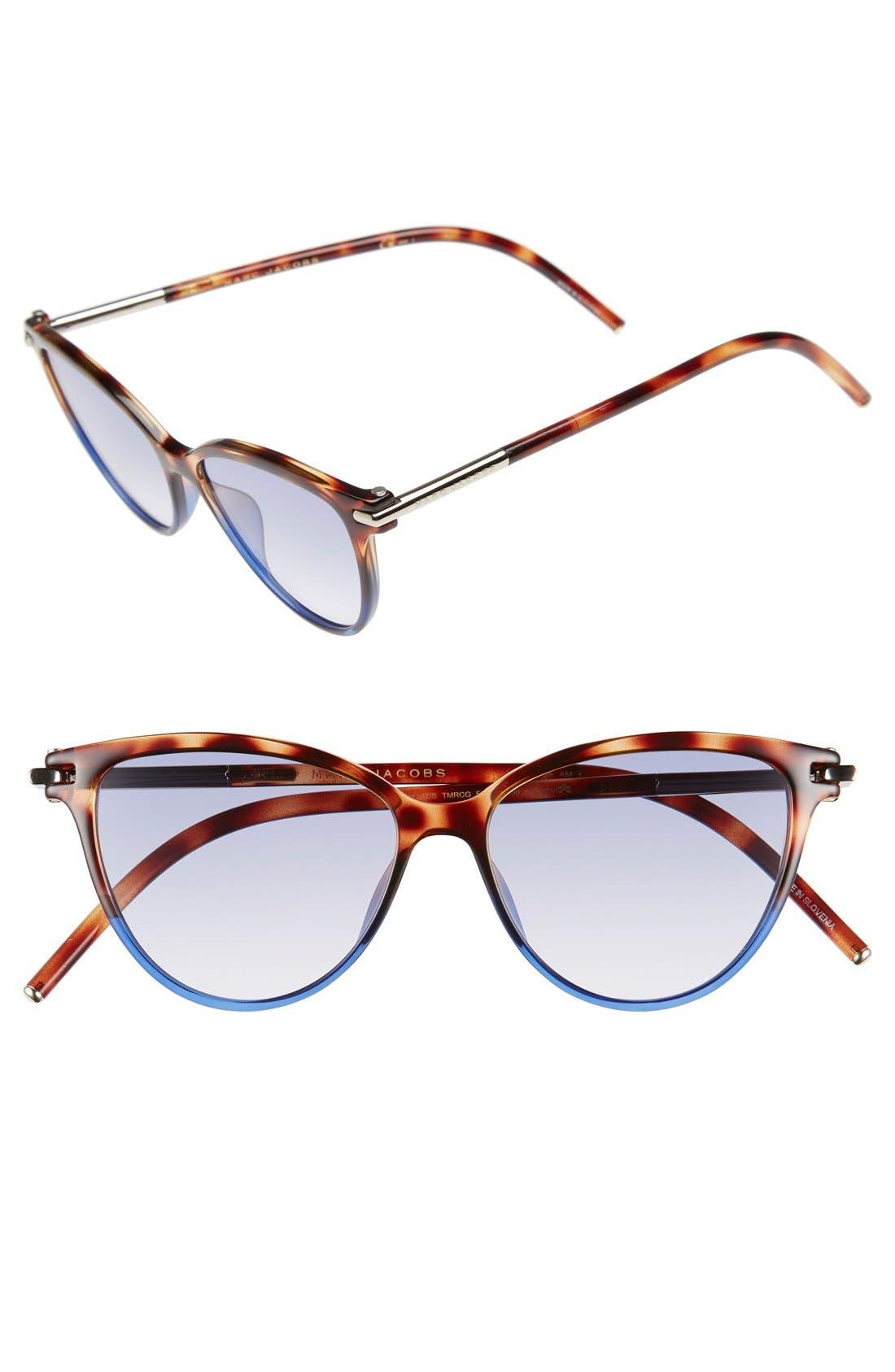 53mm Cat Eye Sunglasses,                         Main,                         color, Havanabrownblue