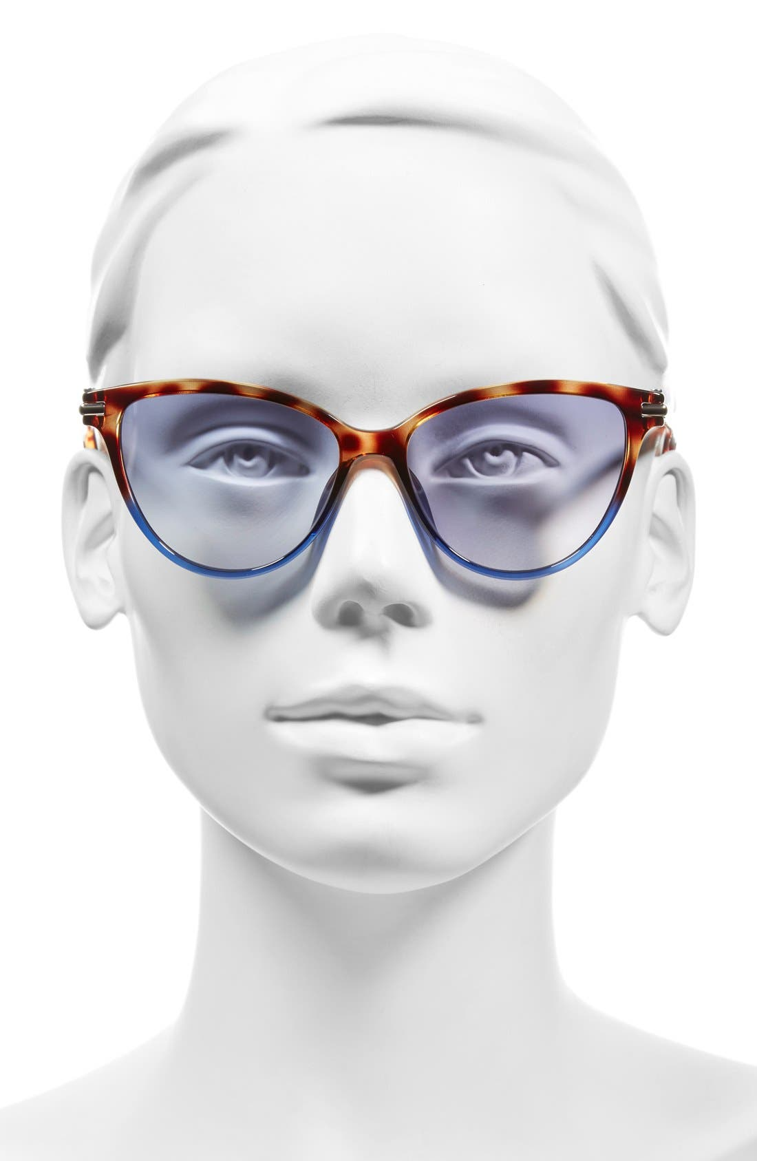 53mm Cat Eye Sunglasses,                             Alternate thumbnail 2, color,                             Havanabrownblue