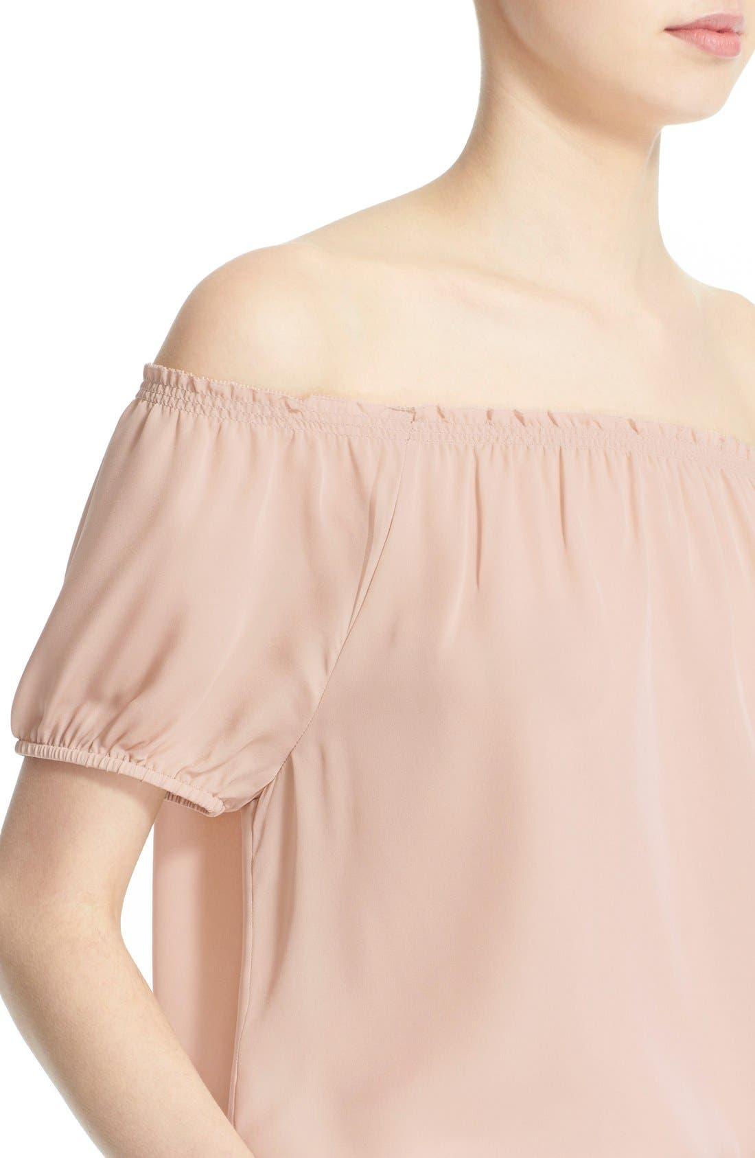 'Colfax' Off the Shoulder Silk Top,                             Alternate thumbnail 4, color,                             Garden Rose
