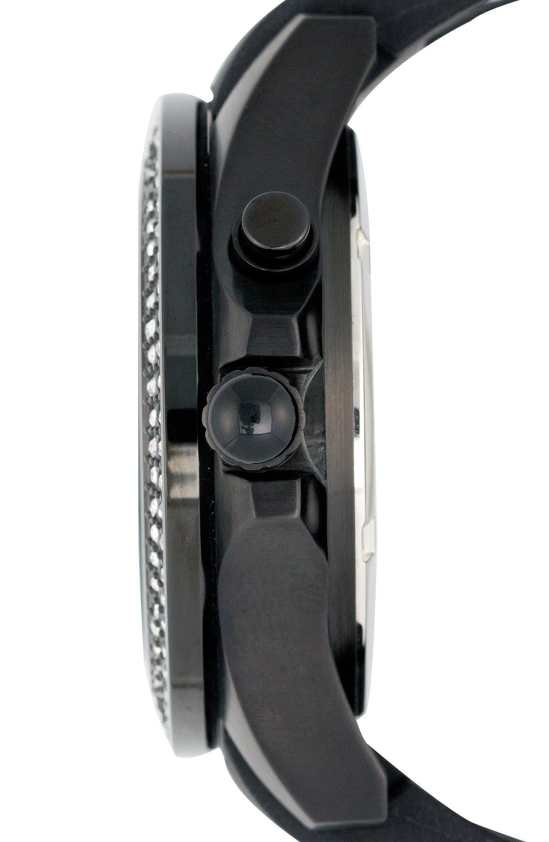 'Radiant' Crystal Bezel Silicone Strap Watch, 40mm,                             Alternate thumbnail 3, color,                             Black