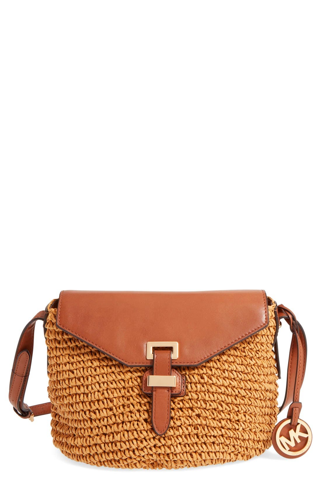 Alternate Image 1 Selected - MICHAEL Michael Kors 'Medium Naomi' Straw & Leather Messenger Bag