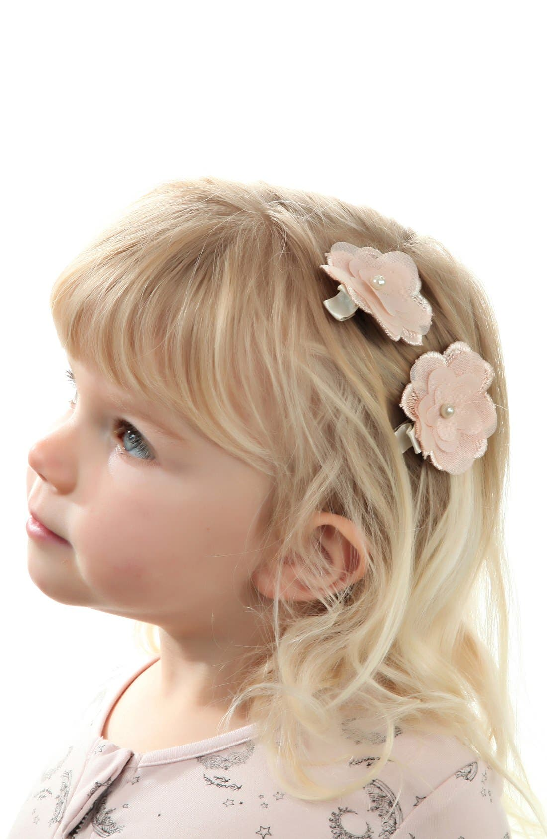Alternate Image 2  - PLH Bows & Laces Flower Hair Clips (Set of 2) (Baby Girls)