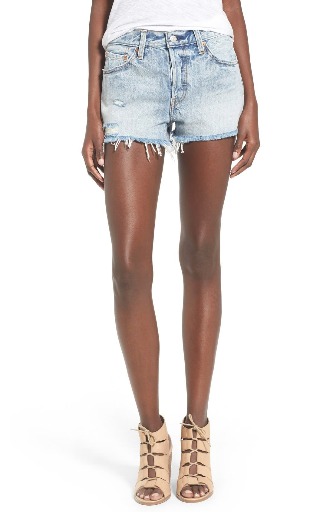 '501<sup>®</sup>' Cutoff Denim Shorts,                         Main,                         color, Waveline