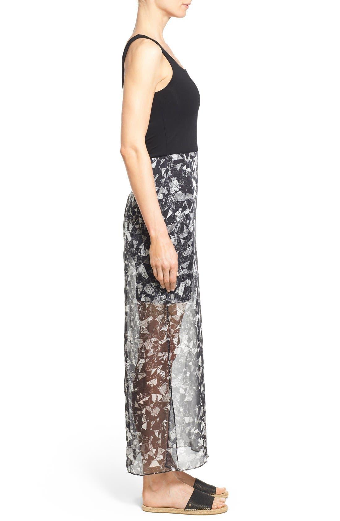 Print Chiffon Overlay Maxi Dress,                             Alternate thumbnail 3, color,                             Rich Black