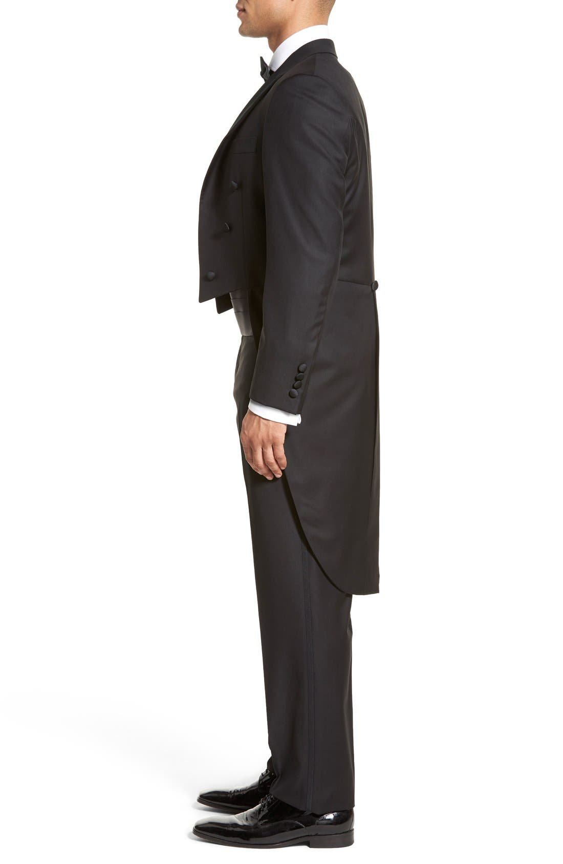 Classic B Fit Tasmanian Wool Tailcoat Tuxedo,                             Alternate thumbnail 3, color,                             Black