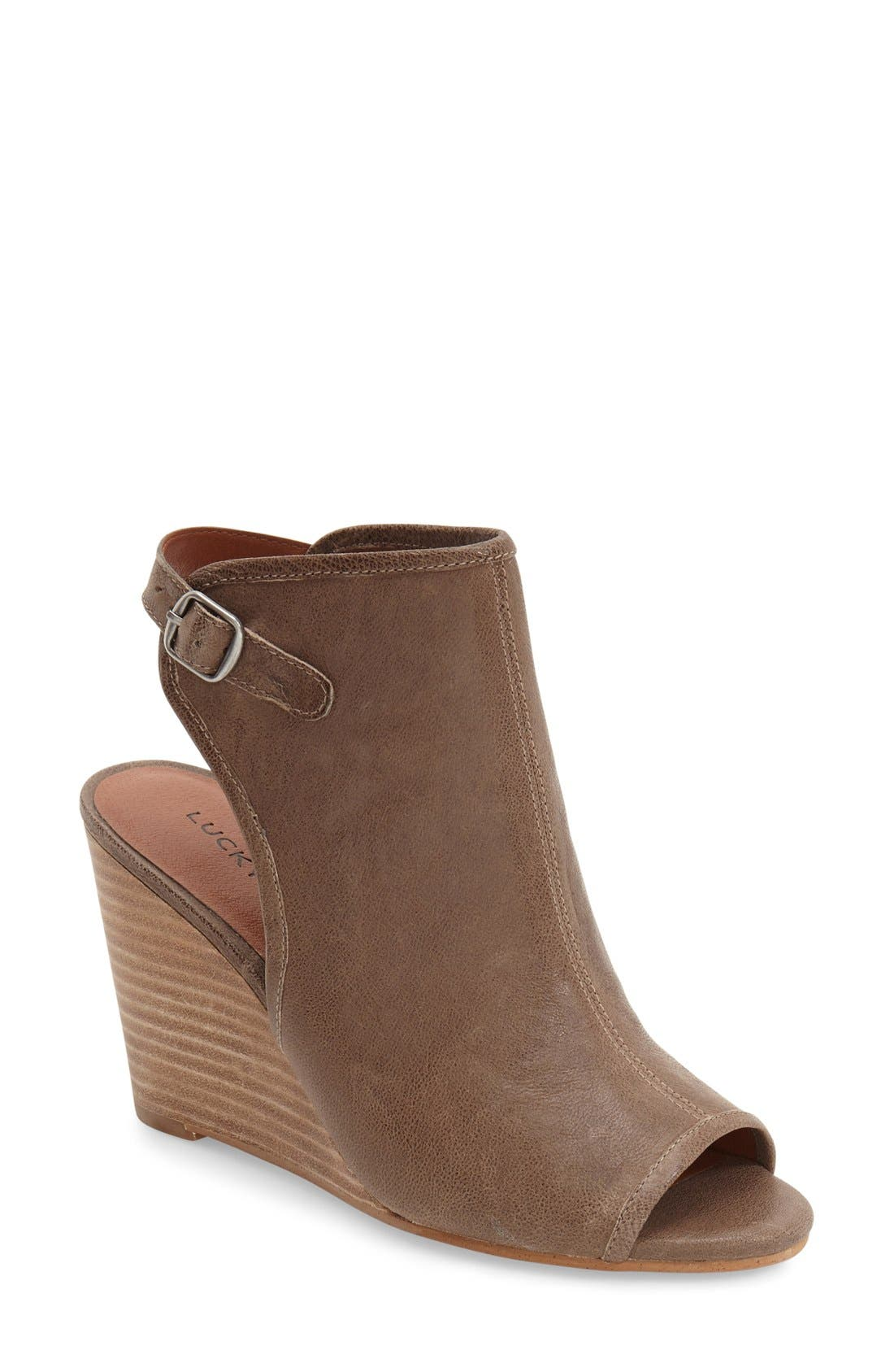 Alternate Image 1 Selected - Lucky Brand 'Risza' Open Toe Wedge Bootie (Women)