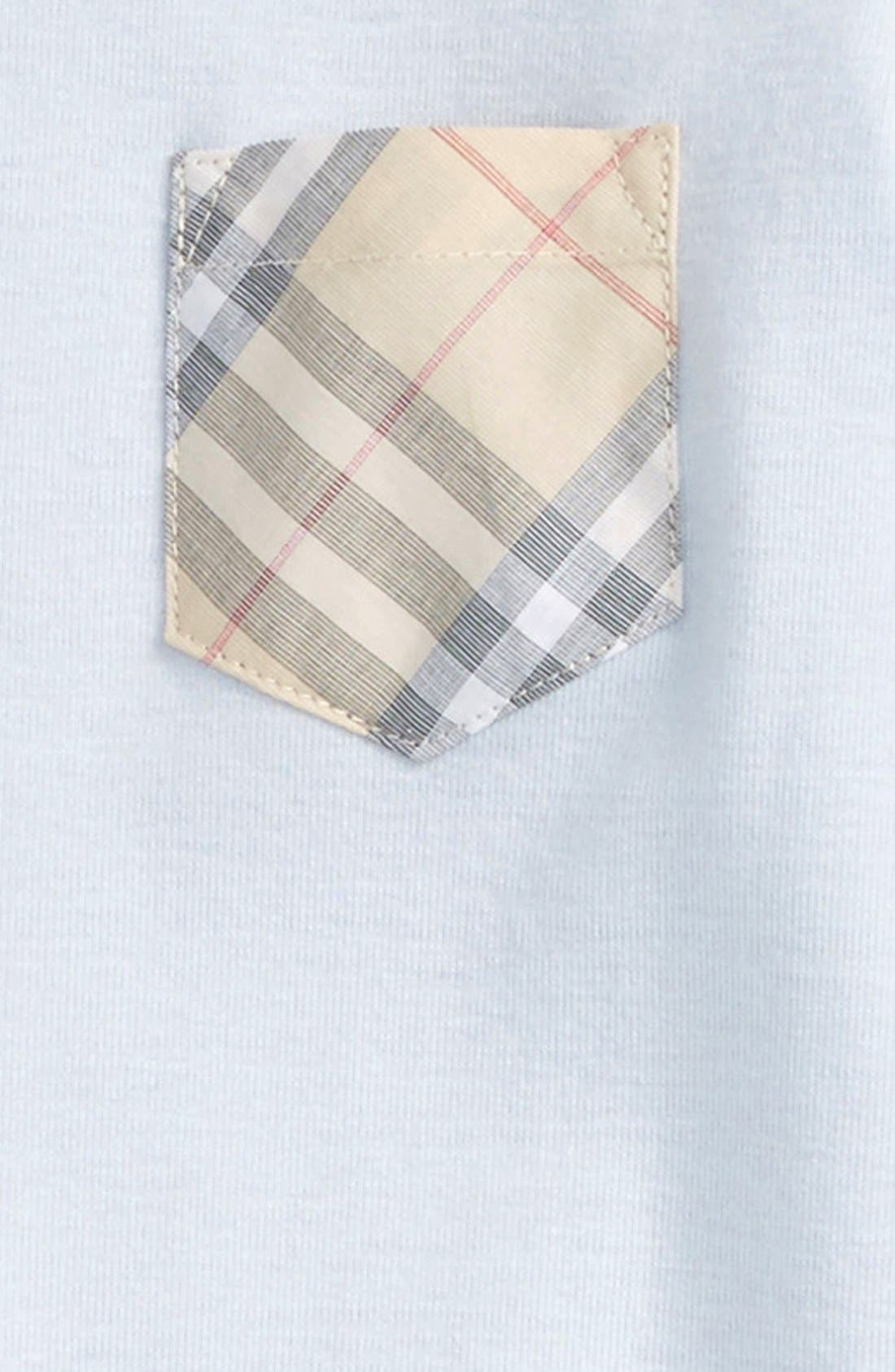 'Jaydin' Check Trim Cotton Footie,                             Alternate thumbnail 2, color,                             Ice Blue