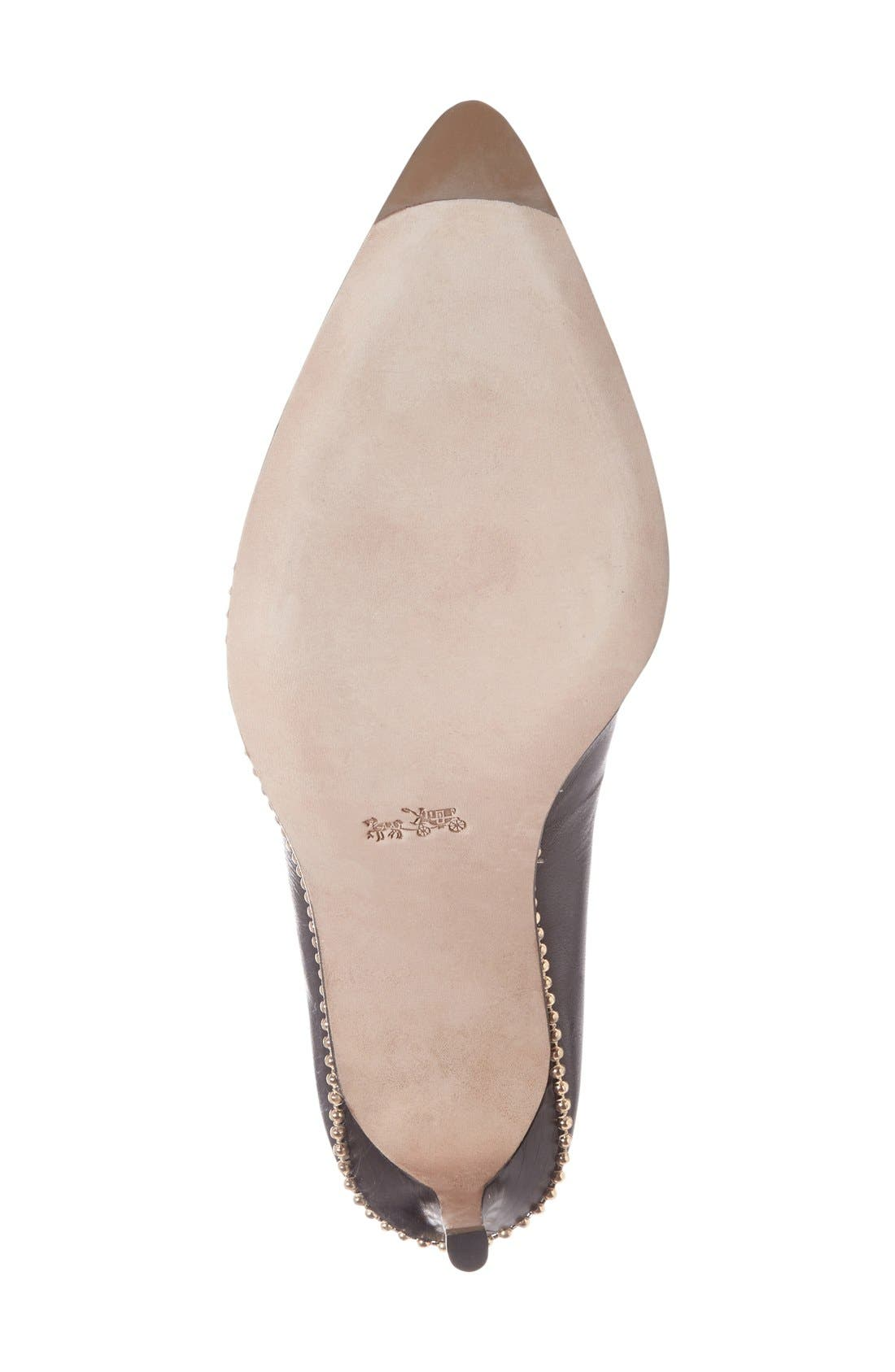 'Smith' Pointy ToePump,                             Alternate thumbnail 4, color,                             Black Leather
