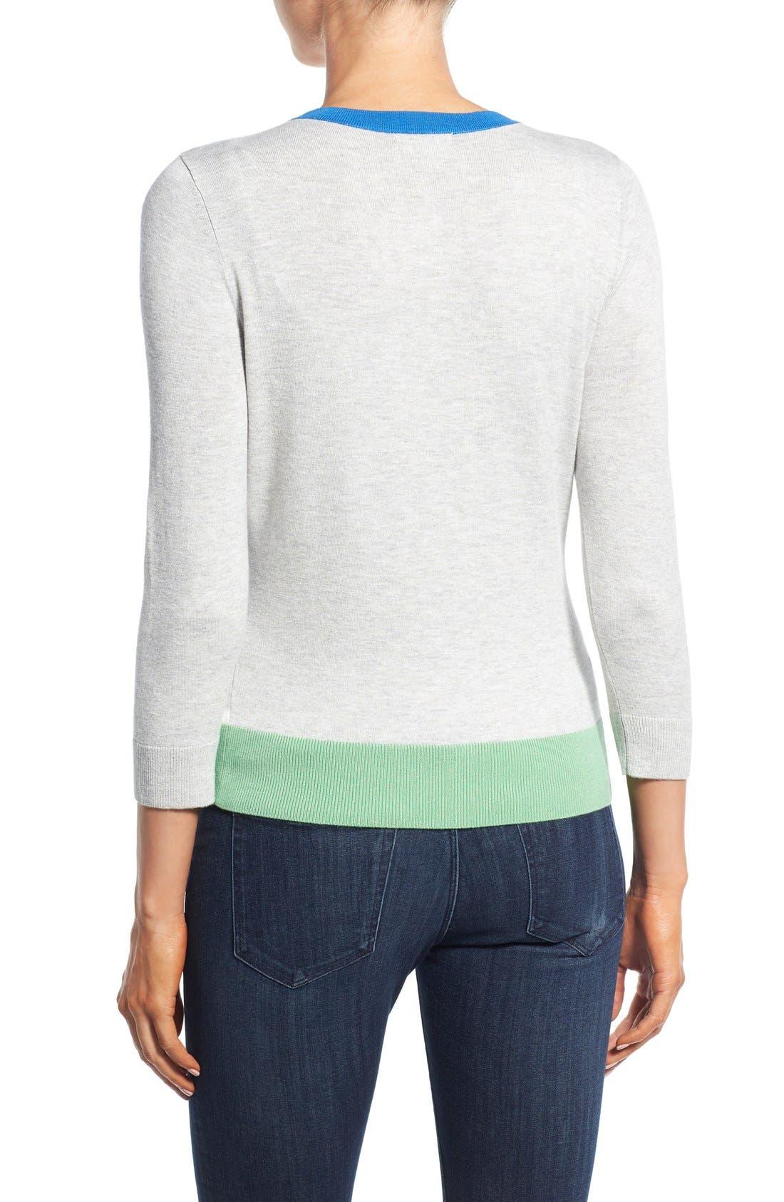 Alternate Image 2  - Halogen® Three Quarter Sleeve Cardigan (Regular & Petite)
