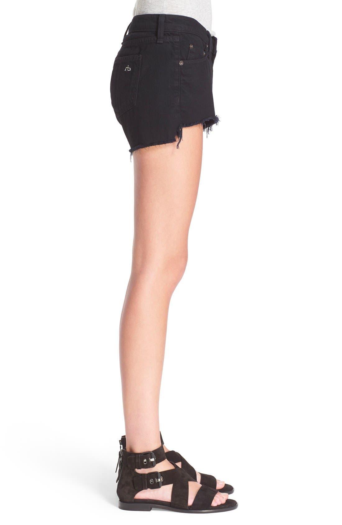 Cutoff Denim Shorts,                             Alternate thumbnail 3, color,                             Black Frpr