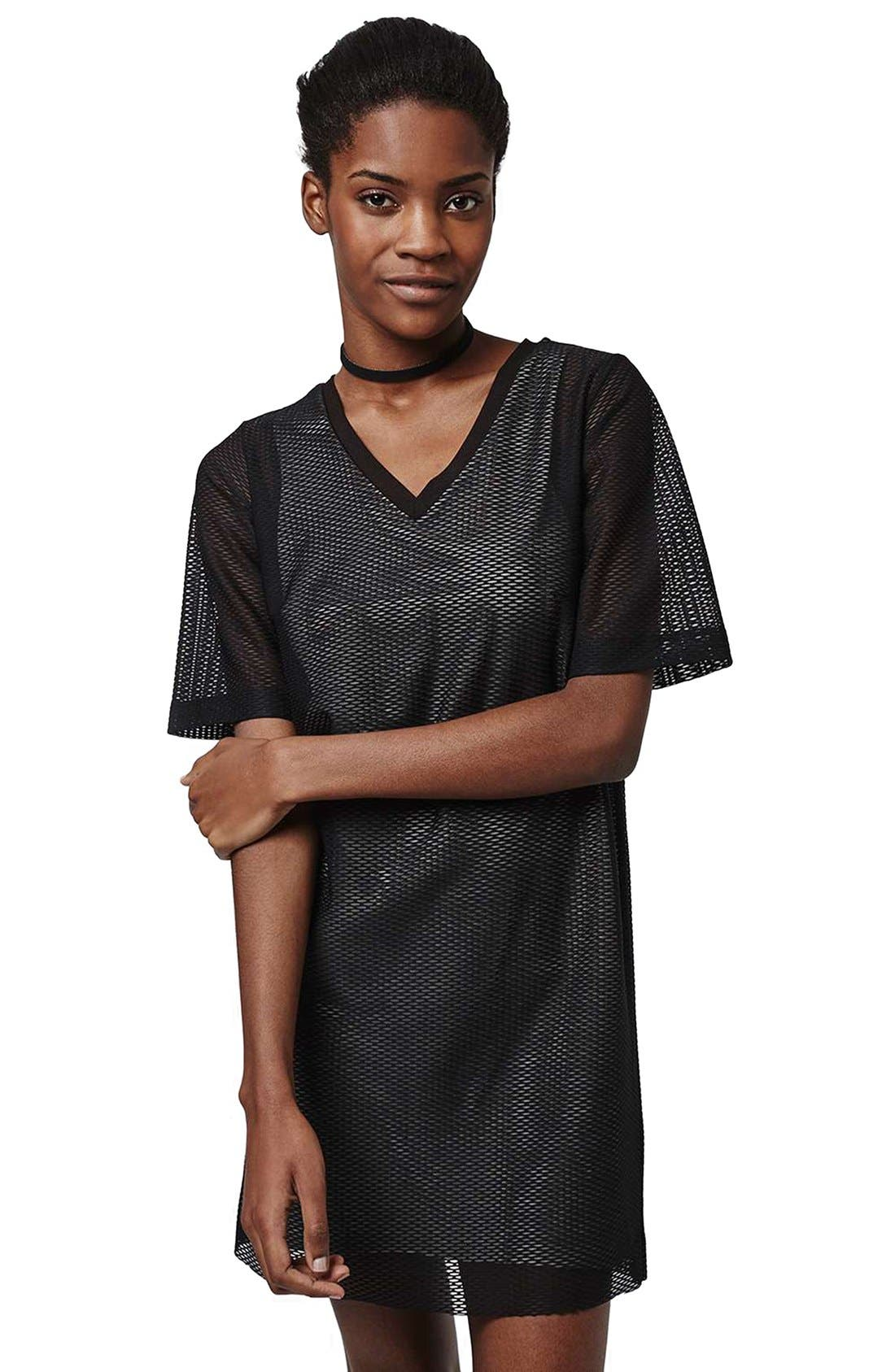 Alternate Image 3  - Topshop V-Neck Mesh T-Shirt Dress