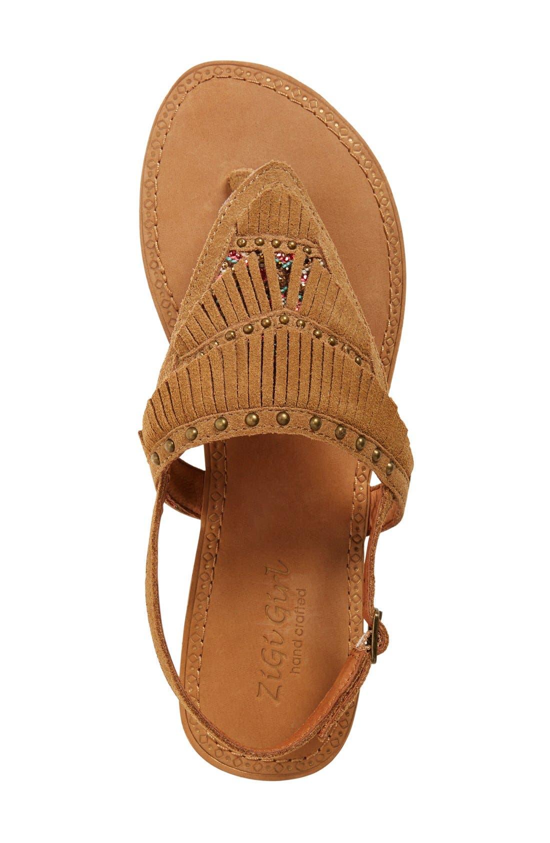 Alternate Image 3  - ZiGi girl 'Farza' Embellished Fringe Flat Sandal (Women)