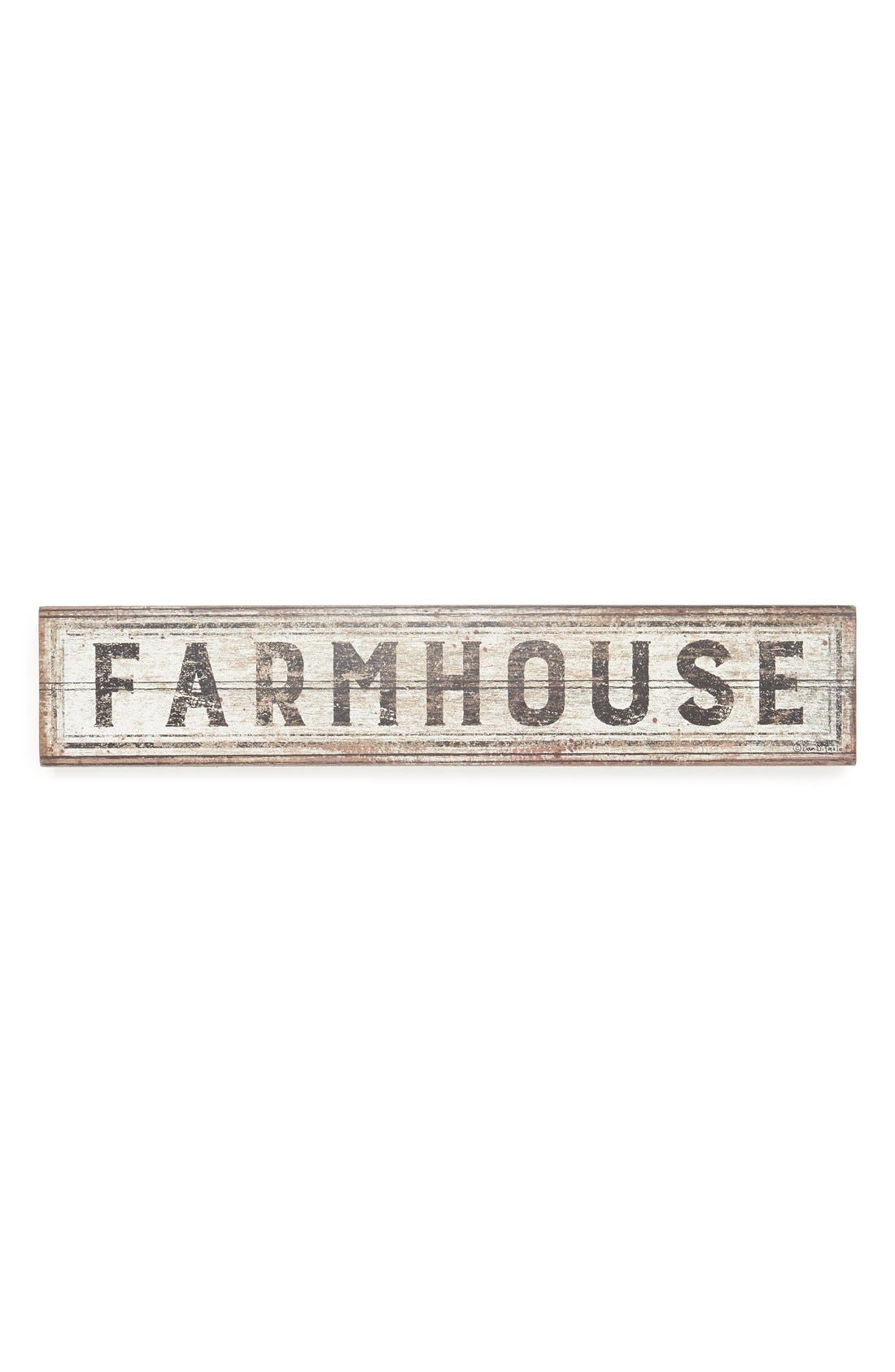 'Farmhouse' Distressed Box Sign,                         Main,                         color, White