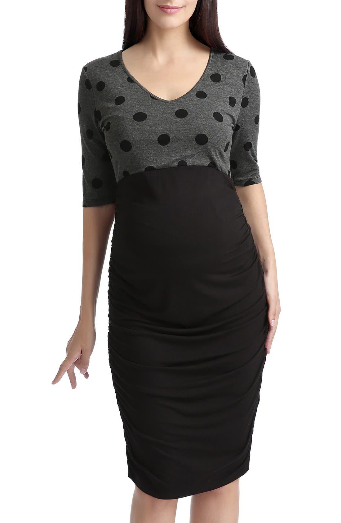 'Farrah' Maternity Body-Con Dress,                         Main,                         color, Black/ Gray