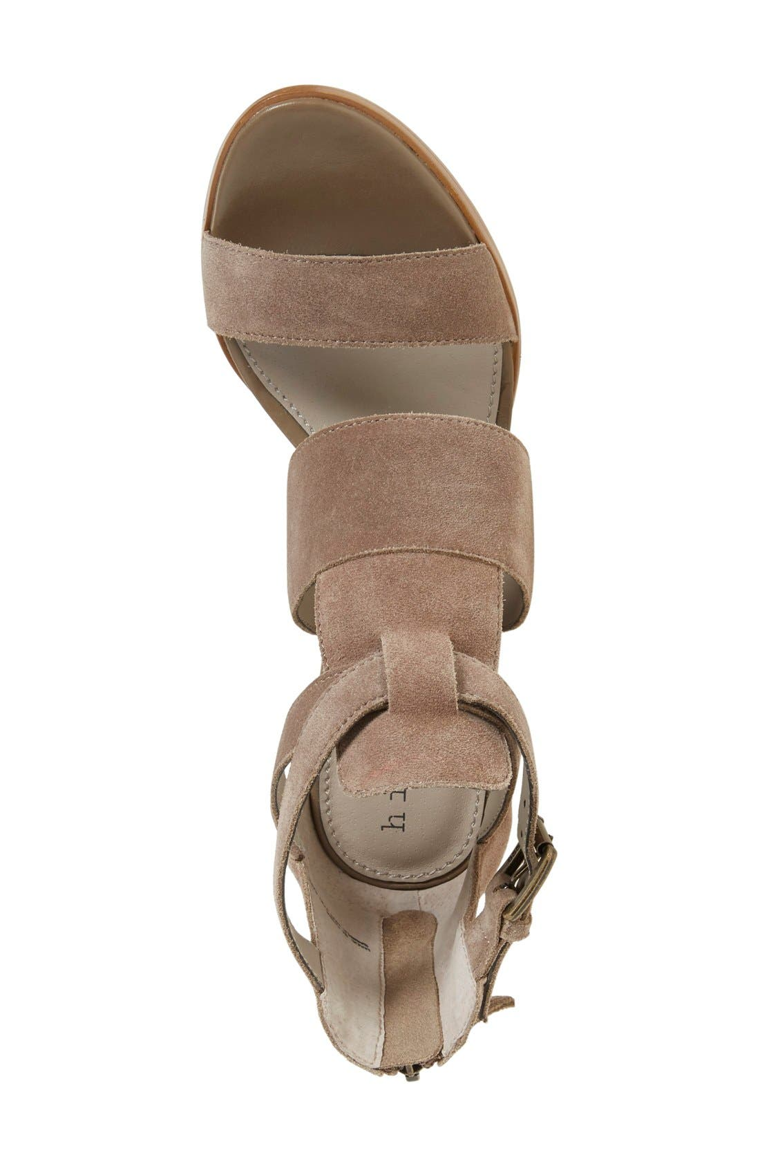 'Cora' Block Heel Sandal,                             Alternate thumbnail 5, color,                             Taupe Suede