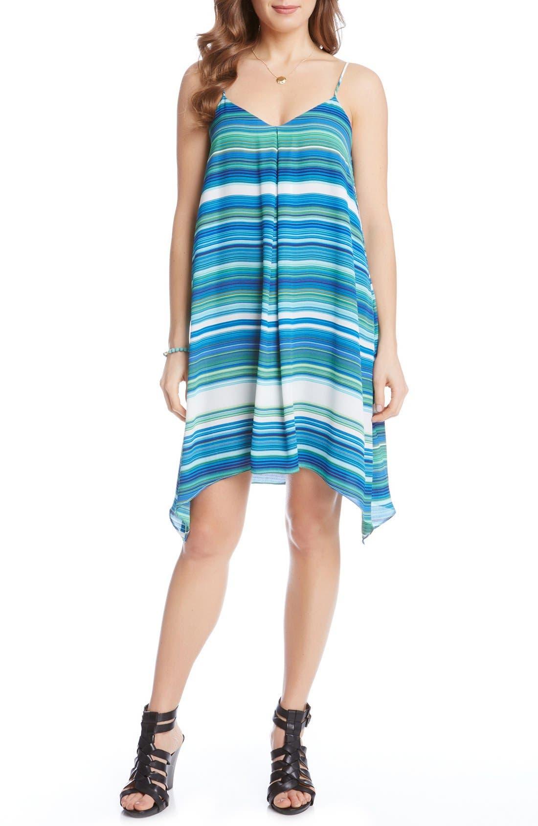 Alternate Image 2  - Karen Kane Spaghetti Strap Stripe Trapeze Dress