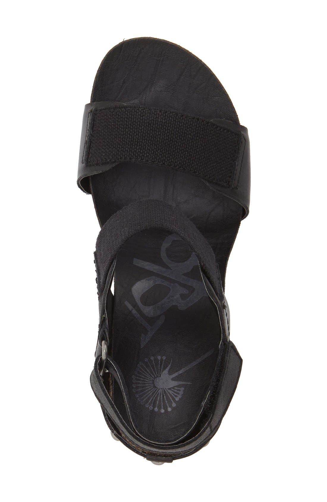 'Trailblazer' Wedge Sandal,                             Alternate thumbnail 3, color,                             Black Leather