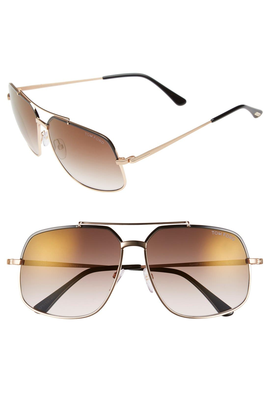 'Ronnie' 60mm Aviator Sunglasses,                             Main thumbnail 1, color,                             Shiny Black/ Brown Mirror