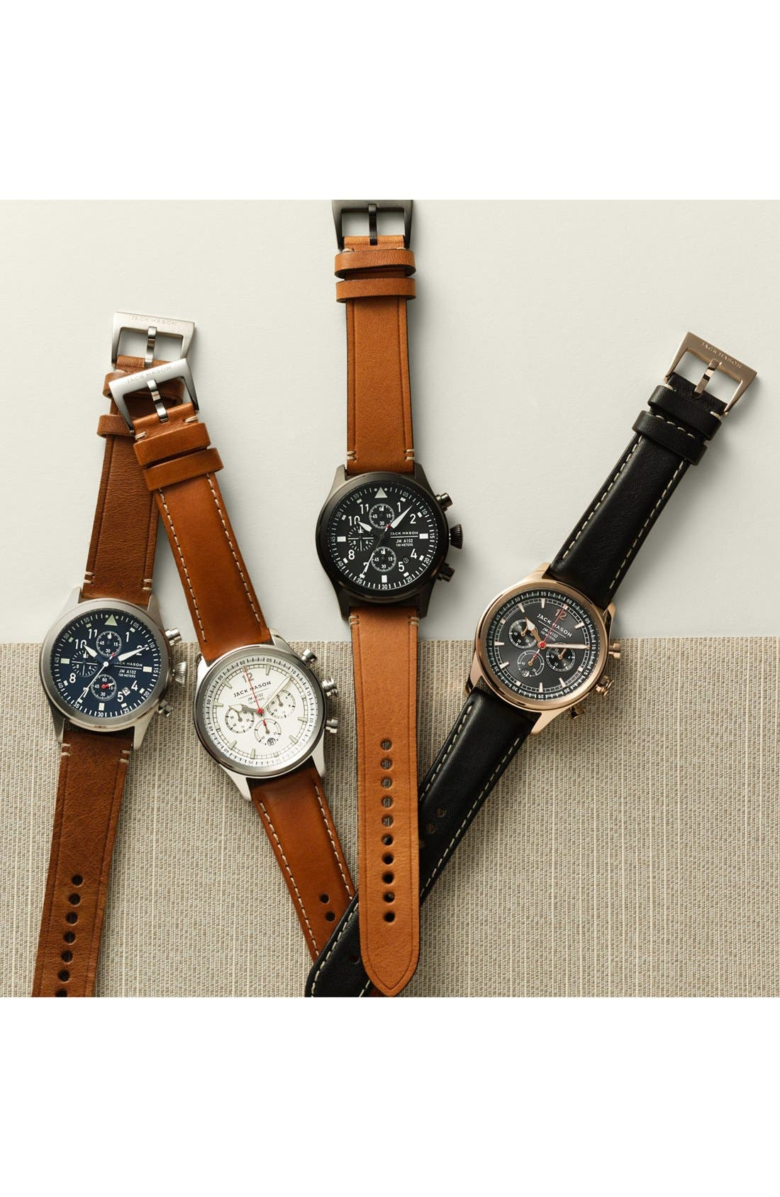Chronograph Leather Strap Watch, 42mm,                             Alternate thumbnail 4, color,