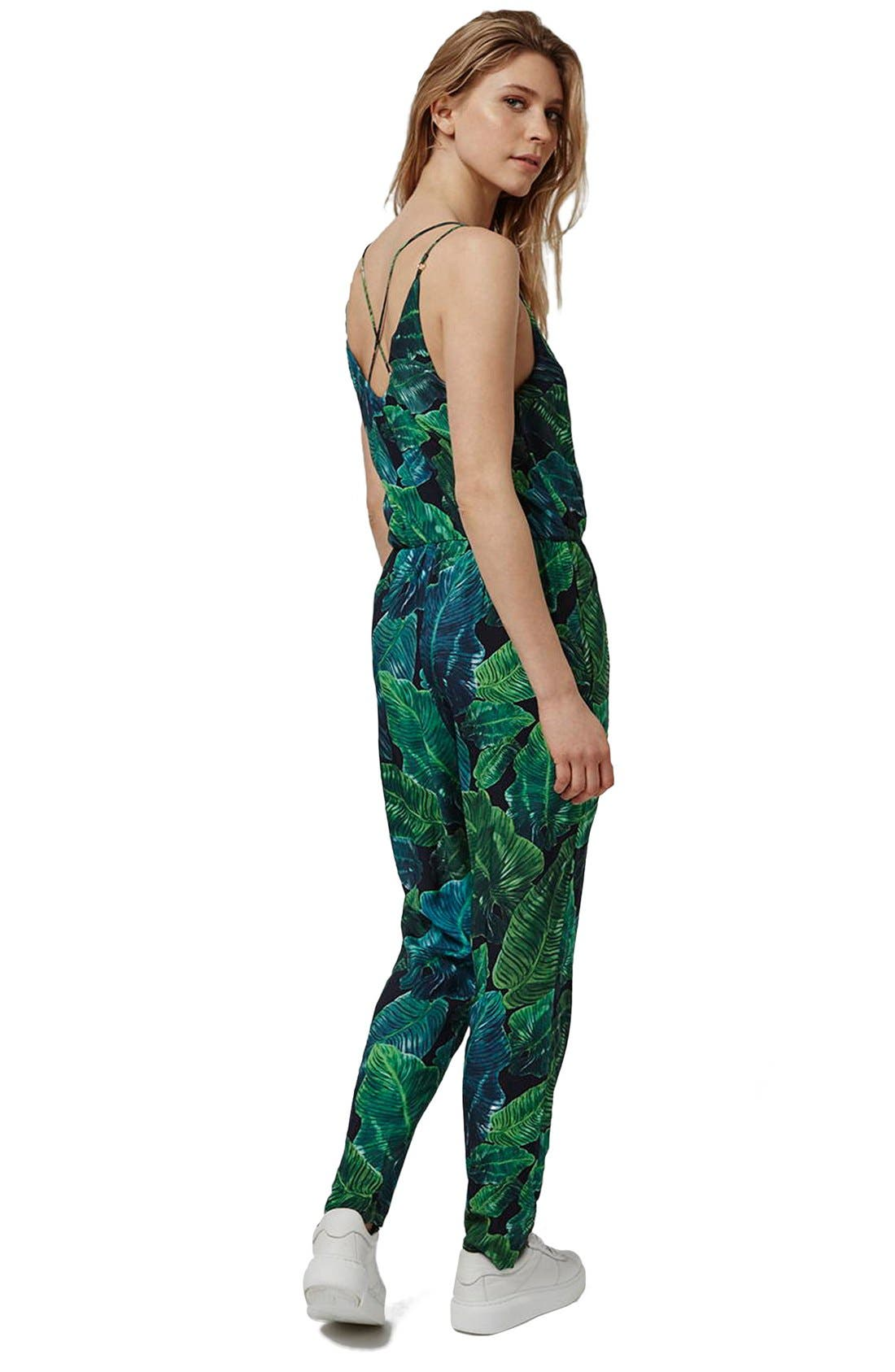 Alternate Image 2  - Topshop Palm Print Strappy Jumpsuit (Regular & Petite)