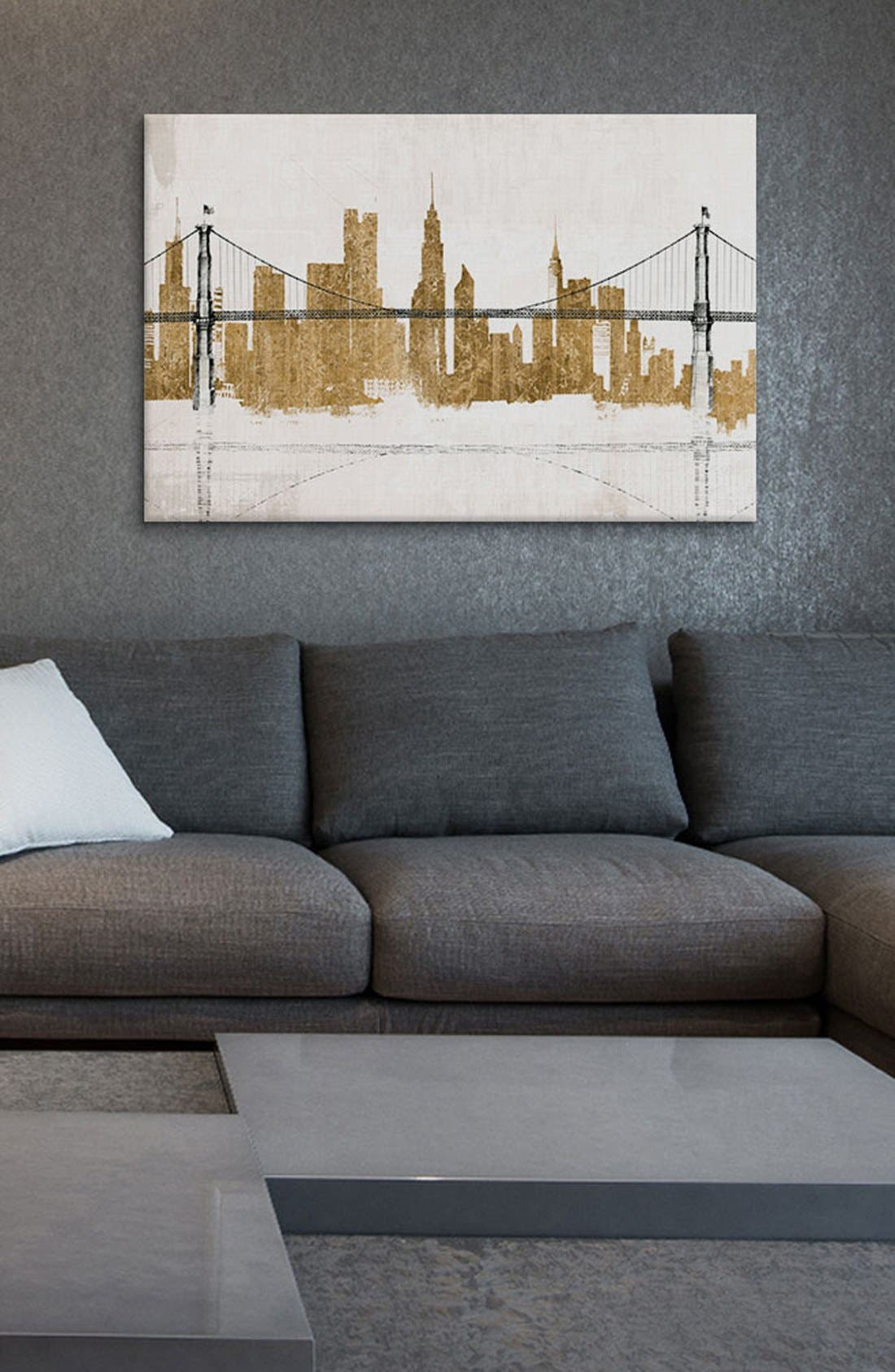 'Bridge Skyline' Giclée Print Canvas Art,                             Alternate thumbnail 2, color,                             White