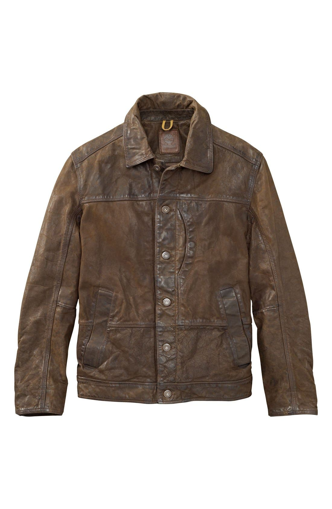 'Tenon' Leather Jacket,                             Alternate thumbnail 4, color,                             Cocoa