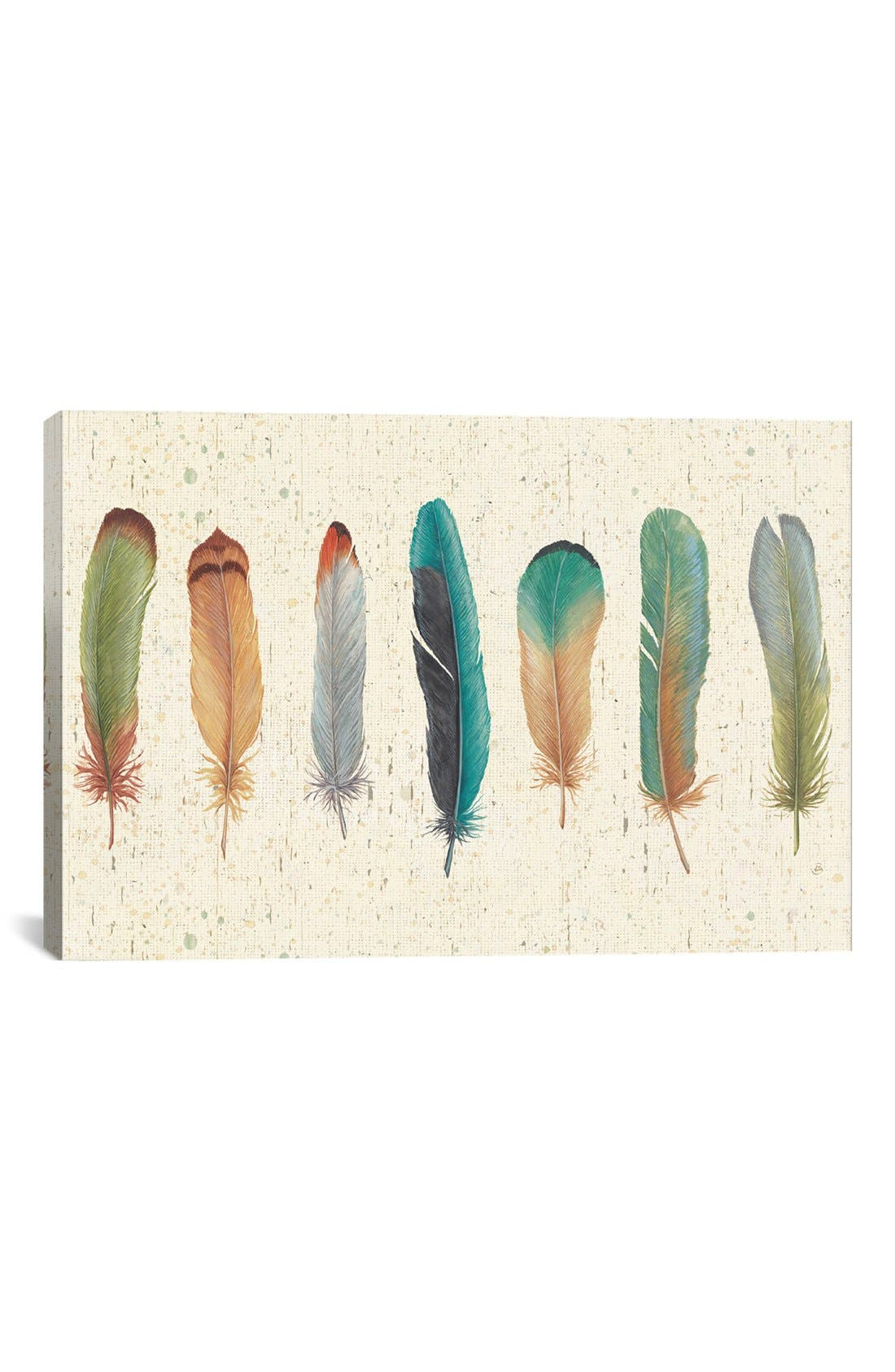 'Feather Tales VII' Giclée Print Canvas Art,                             Main thumbnail 1, color,                             Beige