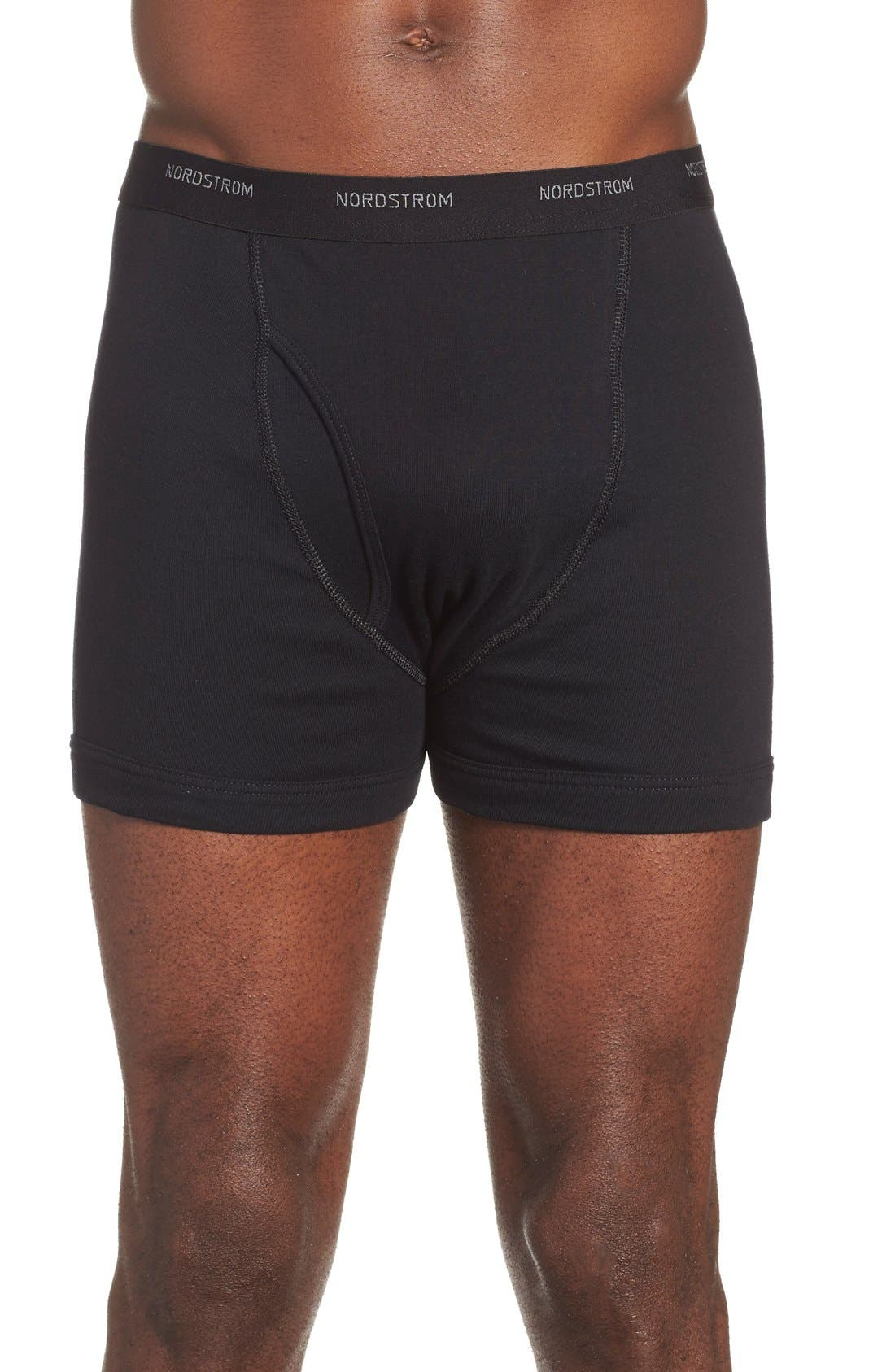 3-Pack Supima<sup>®</sup> Cotton Boxer Briefs,                         Main,                         color, Black