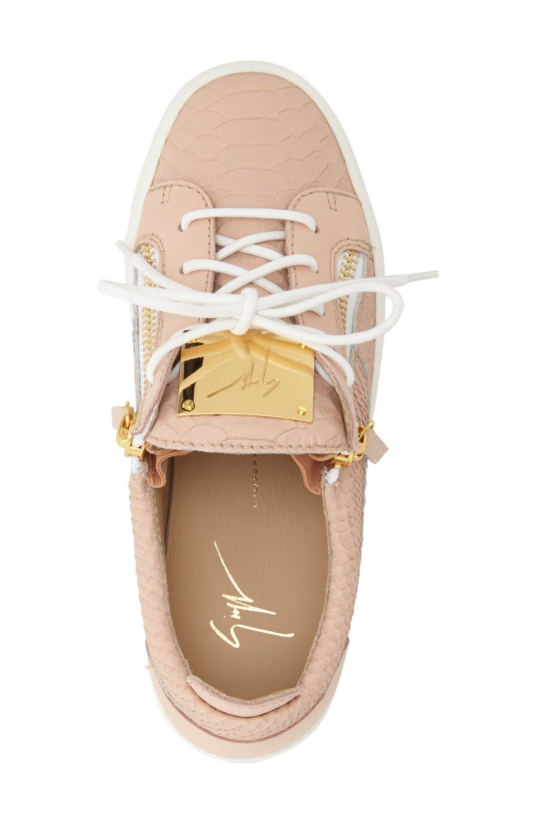 'May London' Snake Embossed Low Top Sneaker,                             Alternate thumbnail 3, color,                             Nude Leather