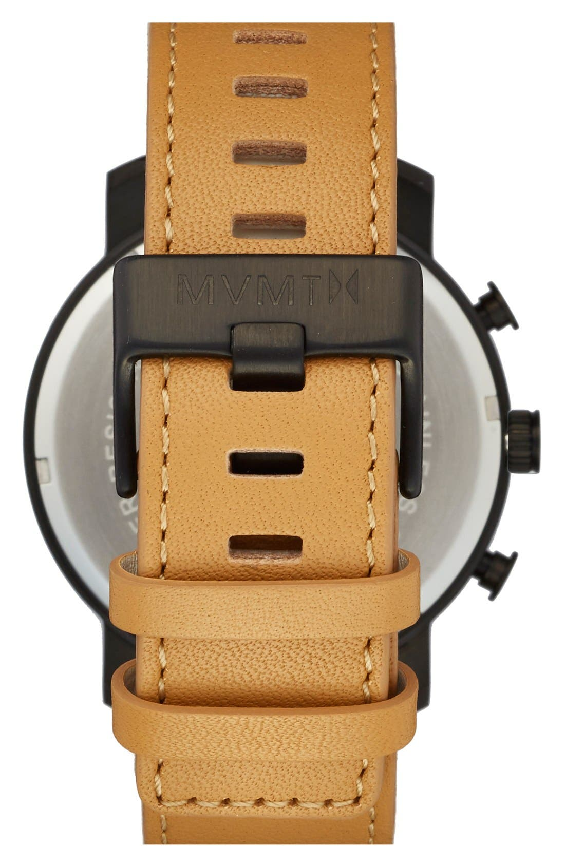 Chronograph Leather Strap Watch, 45mm,                             Alternate thumbnail 3, color,                             Tan/ Black