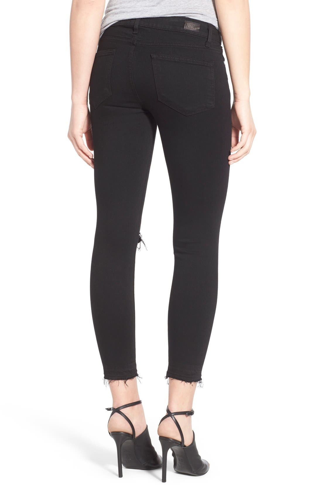 Alternate Image 2  - PAIGE Transcend - Verdugo Crop Skinny Jeans (Black Destructed)