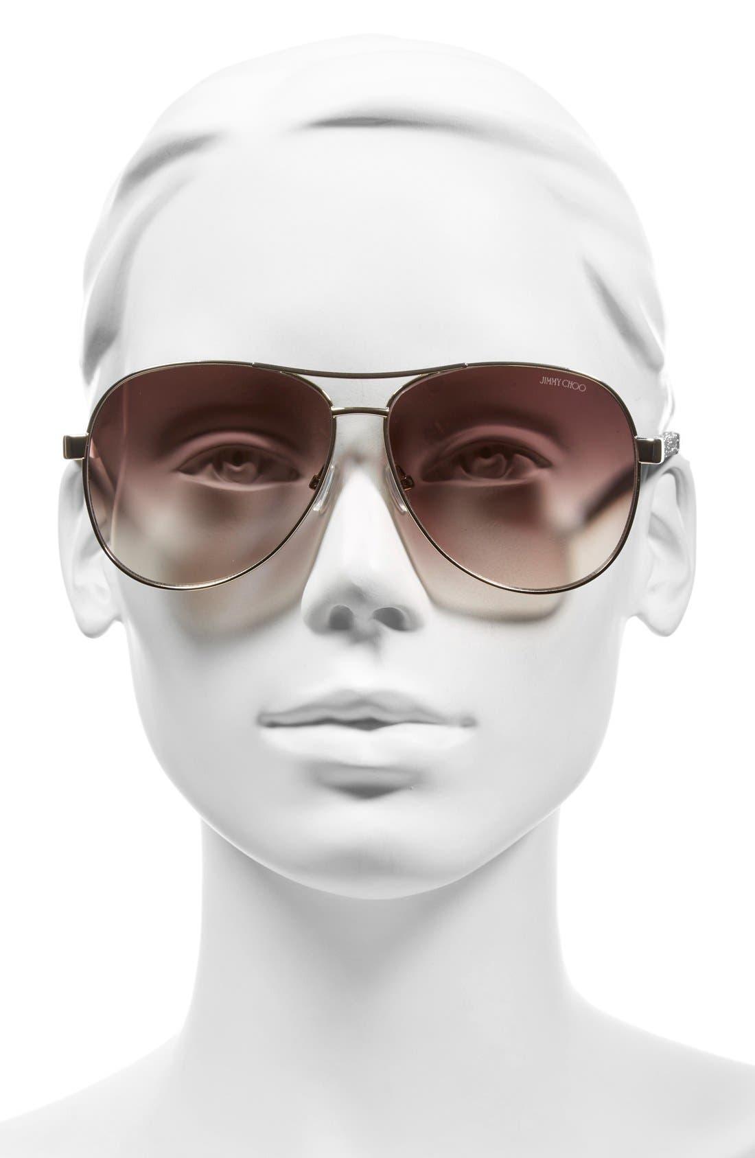 'Lexie' 61mm Aviator Sunglasses,                             Alternate thumbnail 2, color,                             Light Gold
