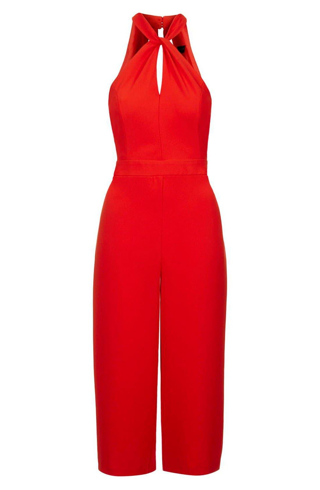 Halter Style Culotte Jumpsuit,                             Alternate thumbnail 3, color,                             Red