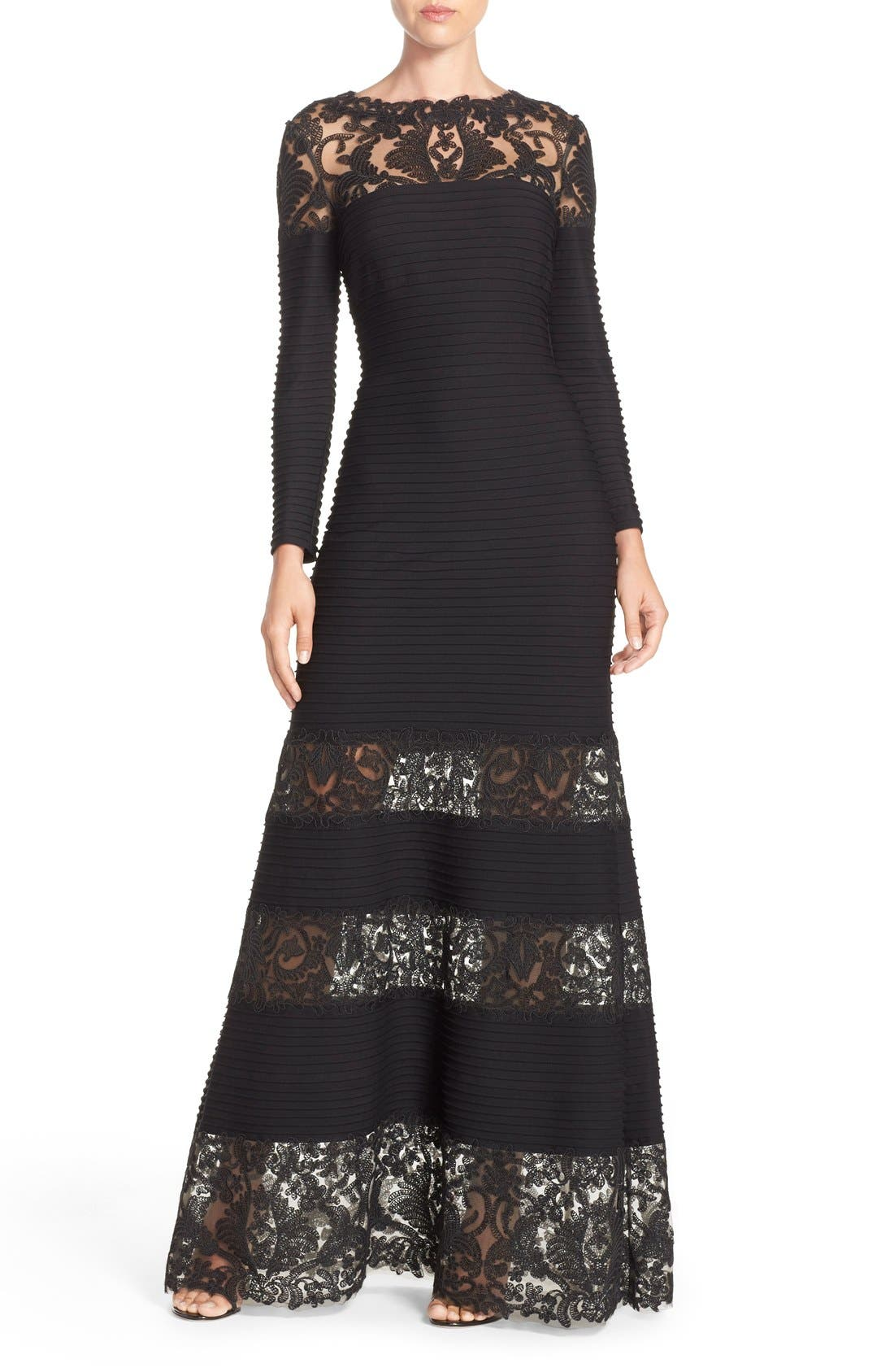Jacky Illusion Gown,                         Main,                         color, Black