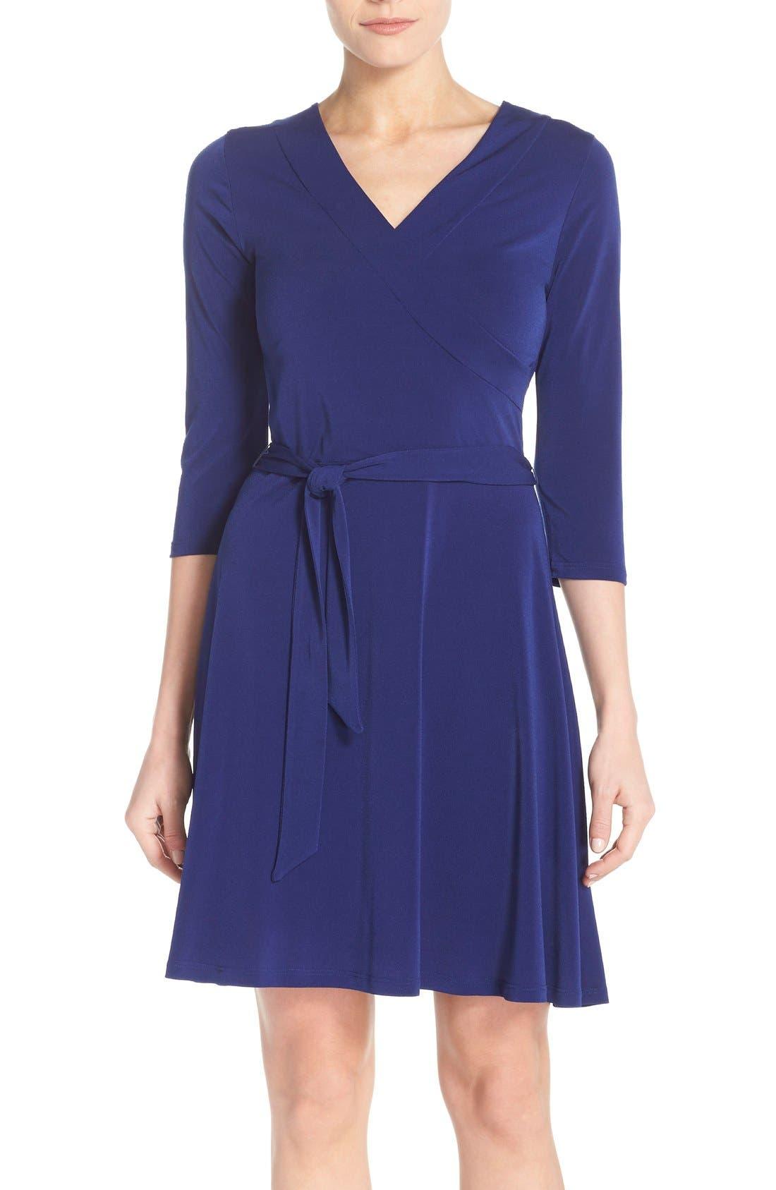 Jersey Faux Wrap Dress,                             Main thumbnail 1, color,                             Navy
