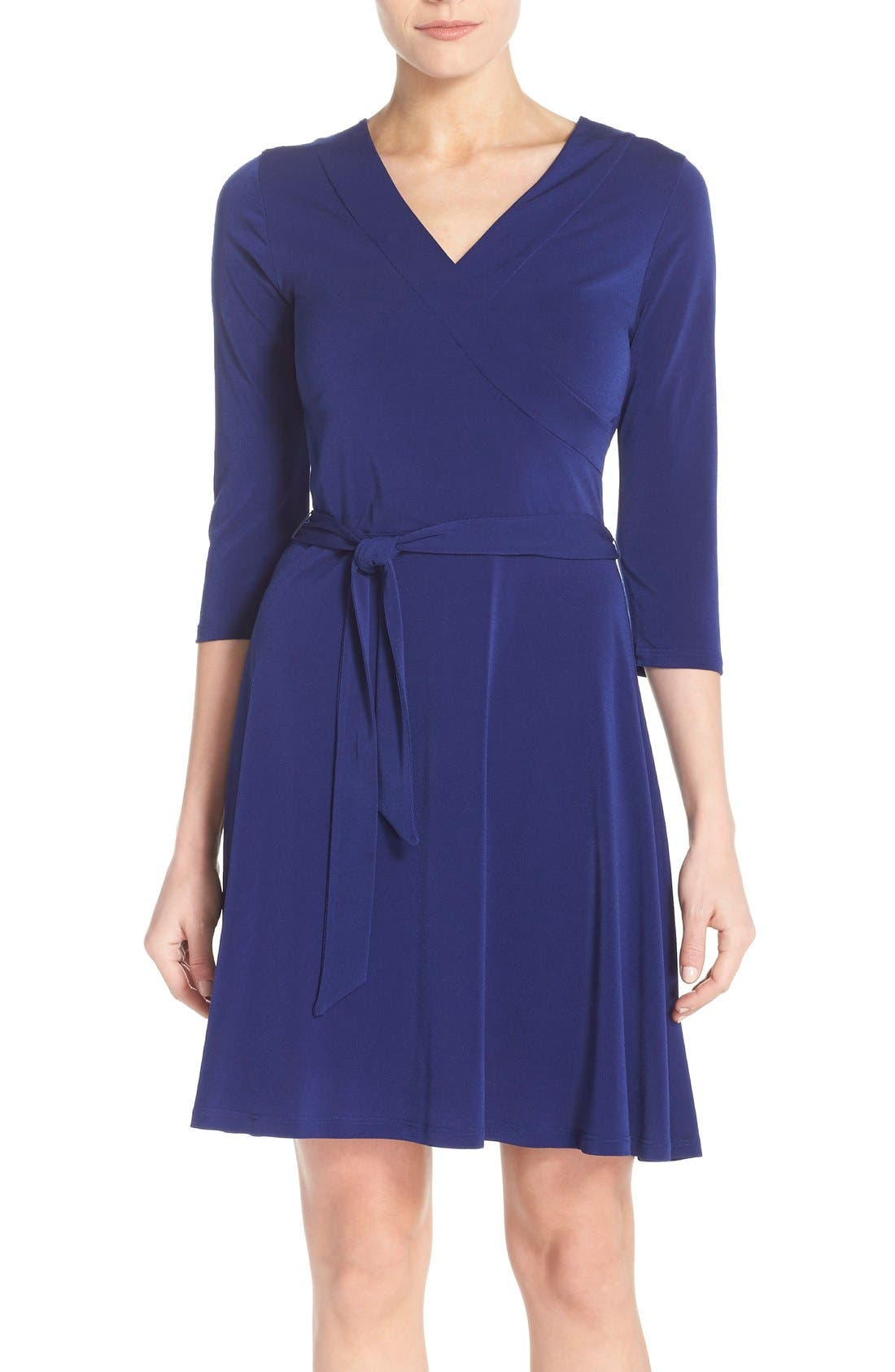 Jersey Faux Wrap Dress,                         Main,                         color, Navy