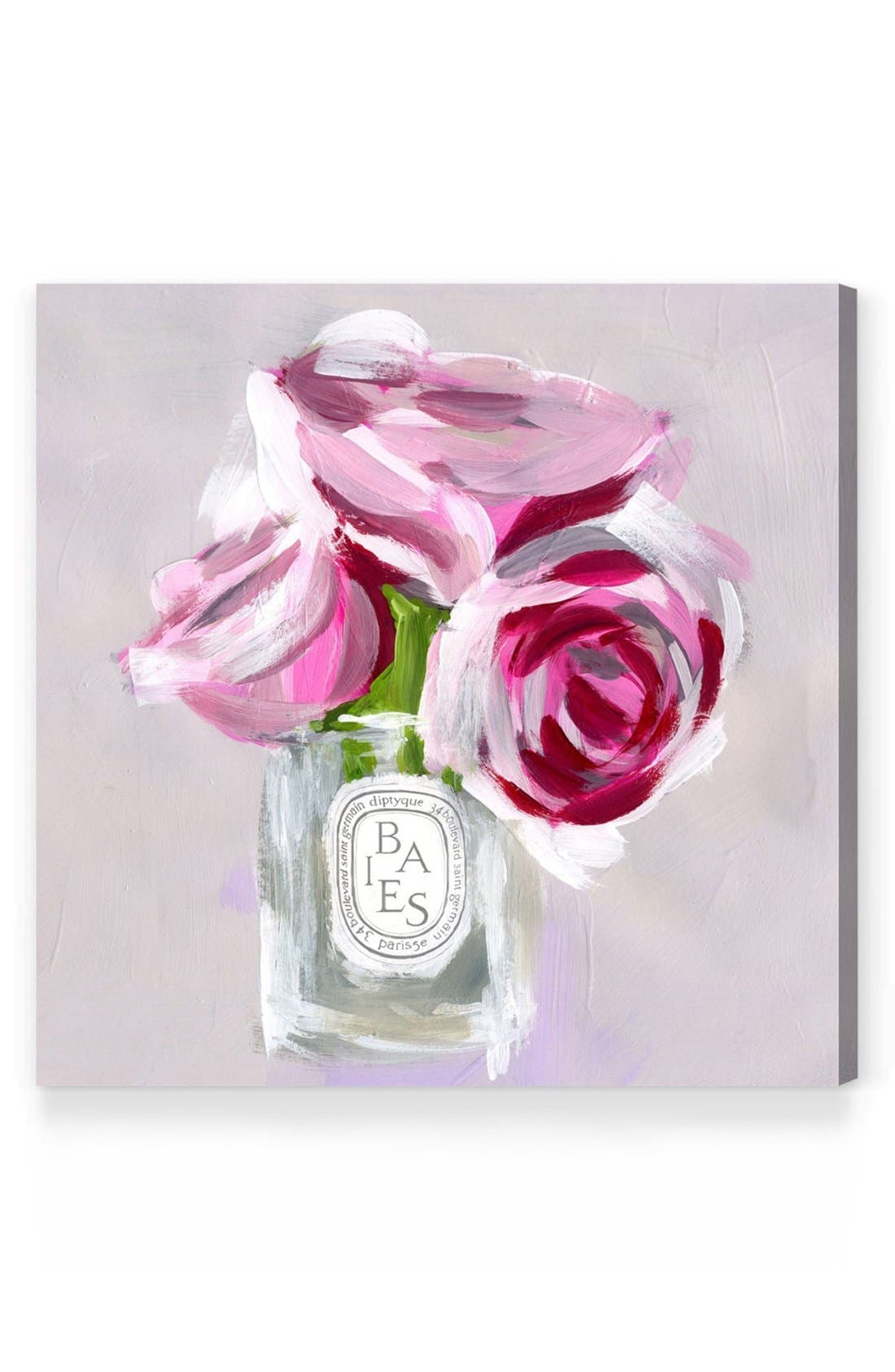 'Rose Candle' Canvas Wall Art,                         Main,                         color, Grey
