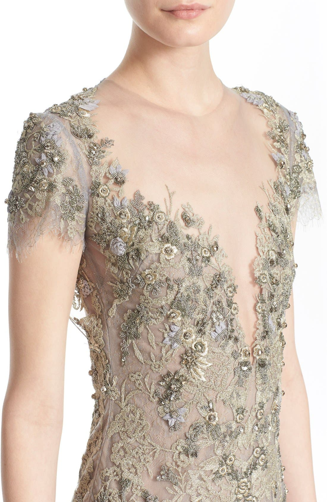 Alternate Image 7  - Marchesa Embroidered Lace & Tulle A-Line Gown